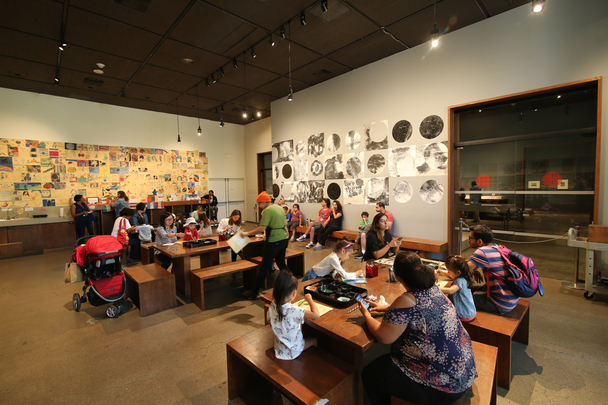 Families making art together in the Boone Children's Gallery, photo © Museum Associates/LACMA, by Brant Brogan