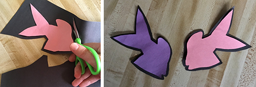 Left: Pink fish on black construction paper being cut out; Right: Purple and pink fish shapes cut out with black borders