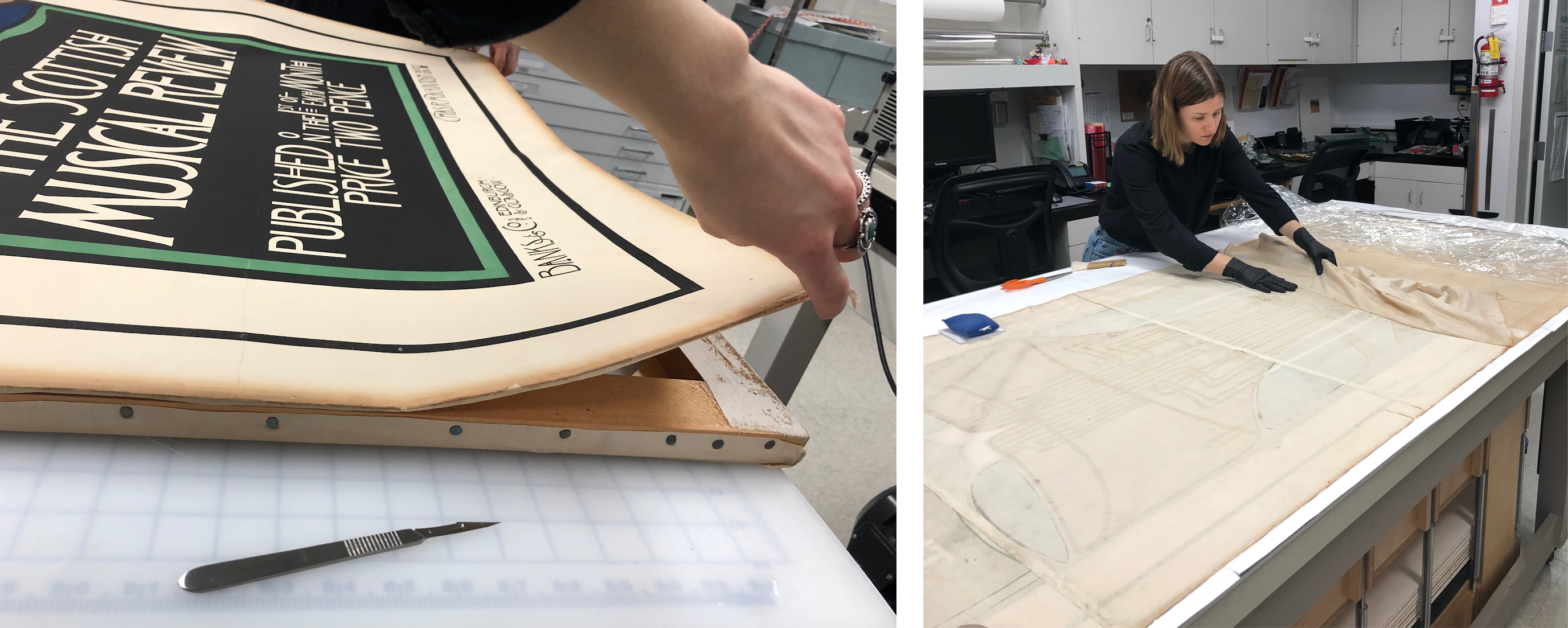Left: Cutting the lining away from the wooden strainer, image courtesy of Madison Brockman; Right: Removing the damp textile lining, image courtesy of Soko Furuhata
