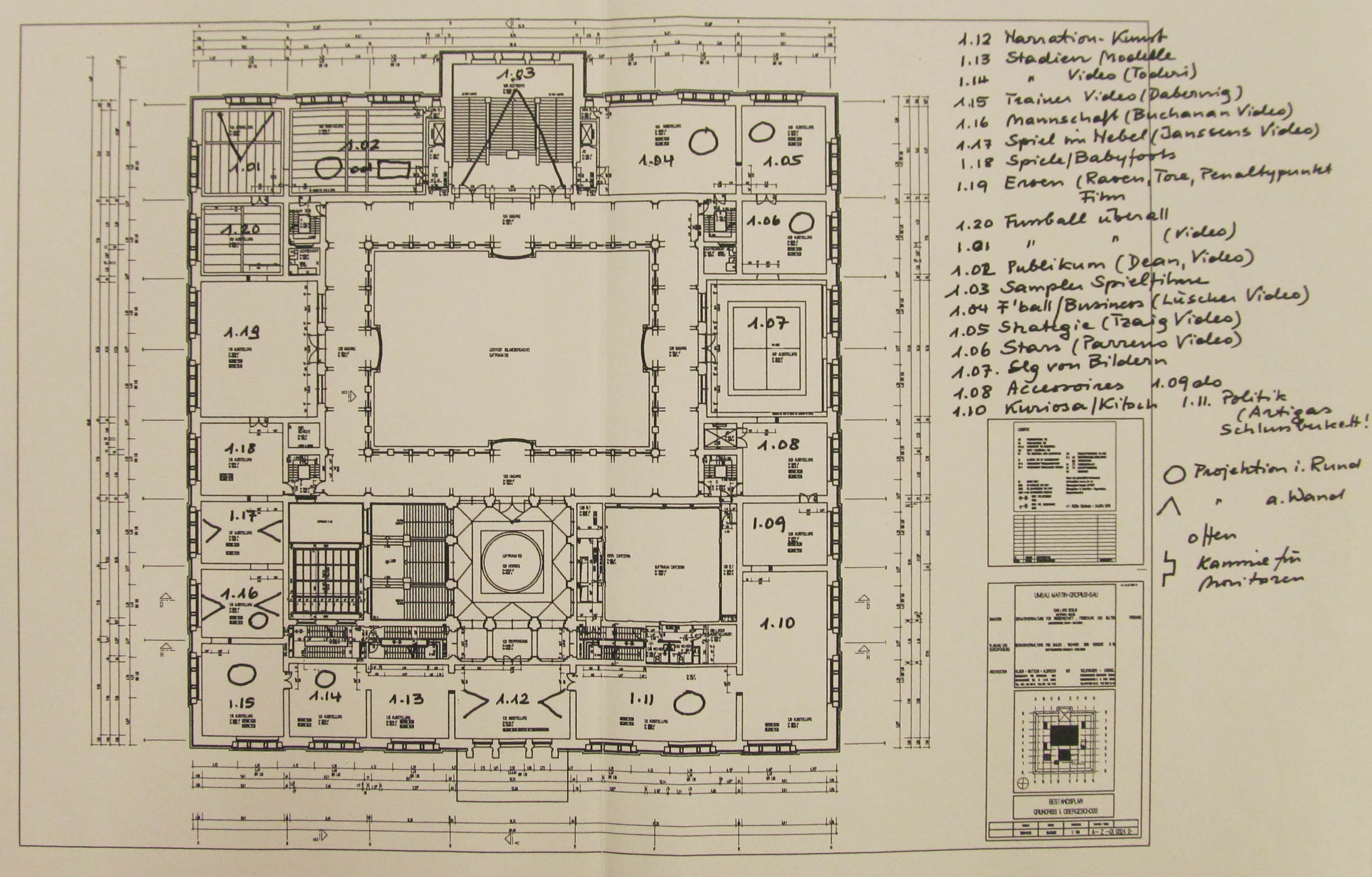 07-10 Harald Szeemann, floor plan of the Martin-Gropius-Bau with notes on possible themes and artists for his exhibition Rundlederwelten. Undated, approximately 2004, Getty Research Institute, 2011.M.30