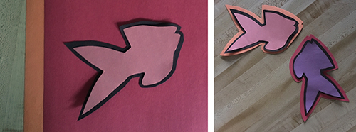 Left: Pink fish shape with black border on red paper background; Right: Pink and purple fish shapes with borders of multiple colors