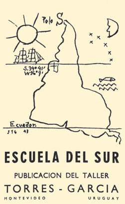 1943 drawing by Joaquín Torres García, illustrated in the cover of the Escuela del Sur (Montevideo: El Taller Torres García, 1958)