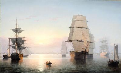 Fitz Henry Lane, Boston Harbor, Sunset, 1850–55, gift of Jo Ann and Julian Ganz, Jr., in honor of the museum's 25th anniversary
