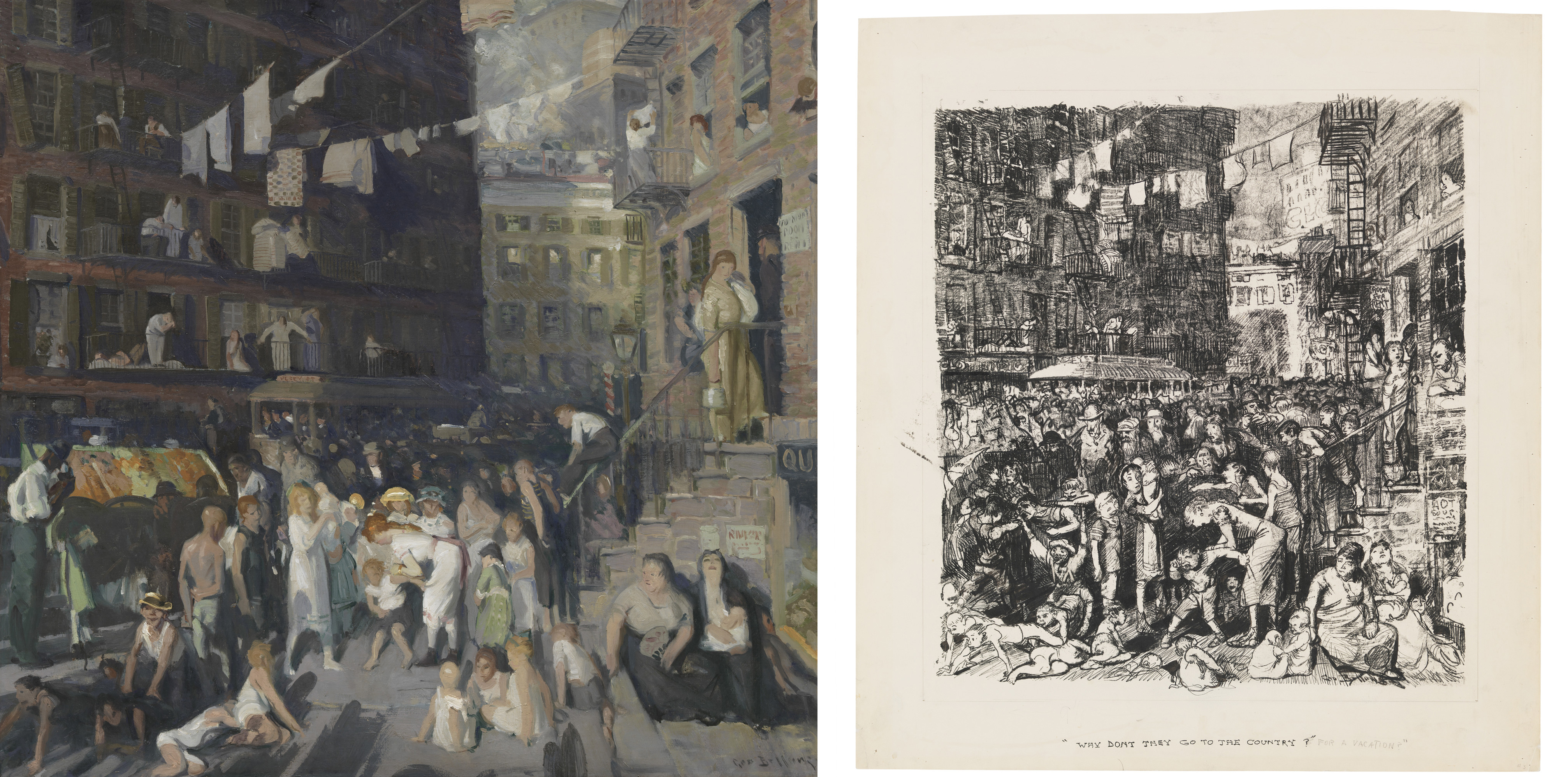 Left: George Bellows, Cliff Dwellers, 1913, Los Angeles County Museum of Art, Los Angeles County Fund, photo © Museum Associates/LACMA; Right: George Bellows, Why Don't They Go to the Country for Vacation?, 1913, Los Angeles County Museum of Art, Los Angeles County Fund, photo © Museum Associates/LACMA