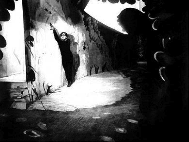 Set photograph from the film The Cabinet of Dr. Caligari, 1919, The Robert Gore Rifkind Center for German Expressionist Studies