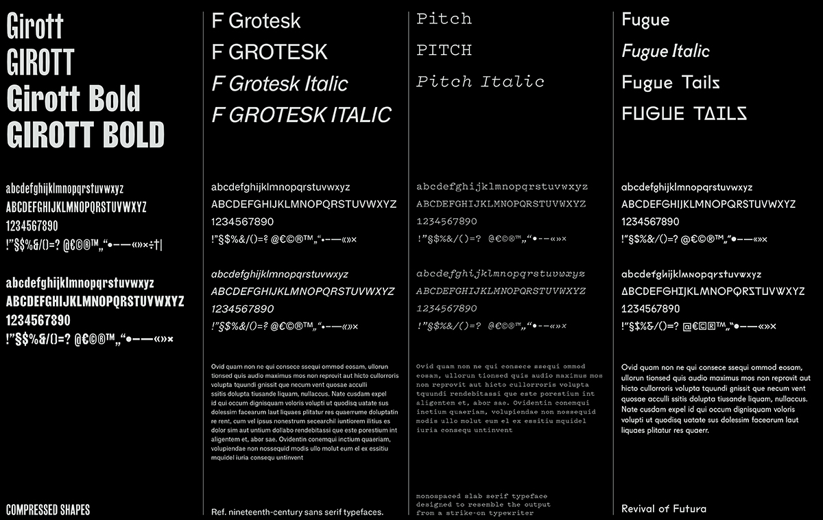 Looking at and evaluating typefaces for the publication. F Grotesk, Fugue, and Girott by Radim Pesko; Pitch by Kris Sowersby