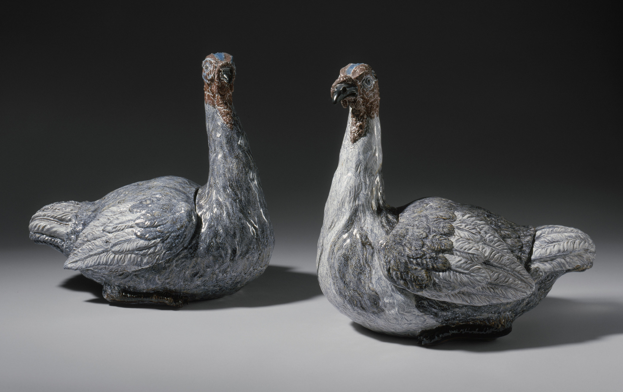 Pair of Turkey Tureens, Hungary, Holitsch, 1743–86, Los Angeles County Museum of Art, purchased with Denis Bequest funds for the Colonel and Mrs. George J. Denis Collection, photo © Museum Associates/LACMA