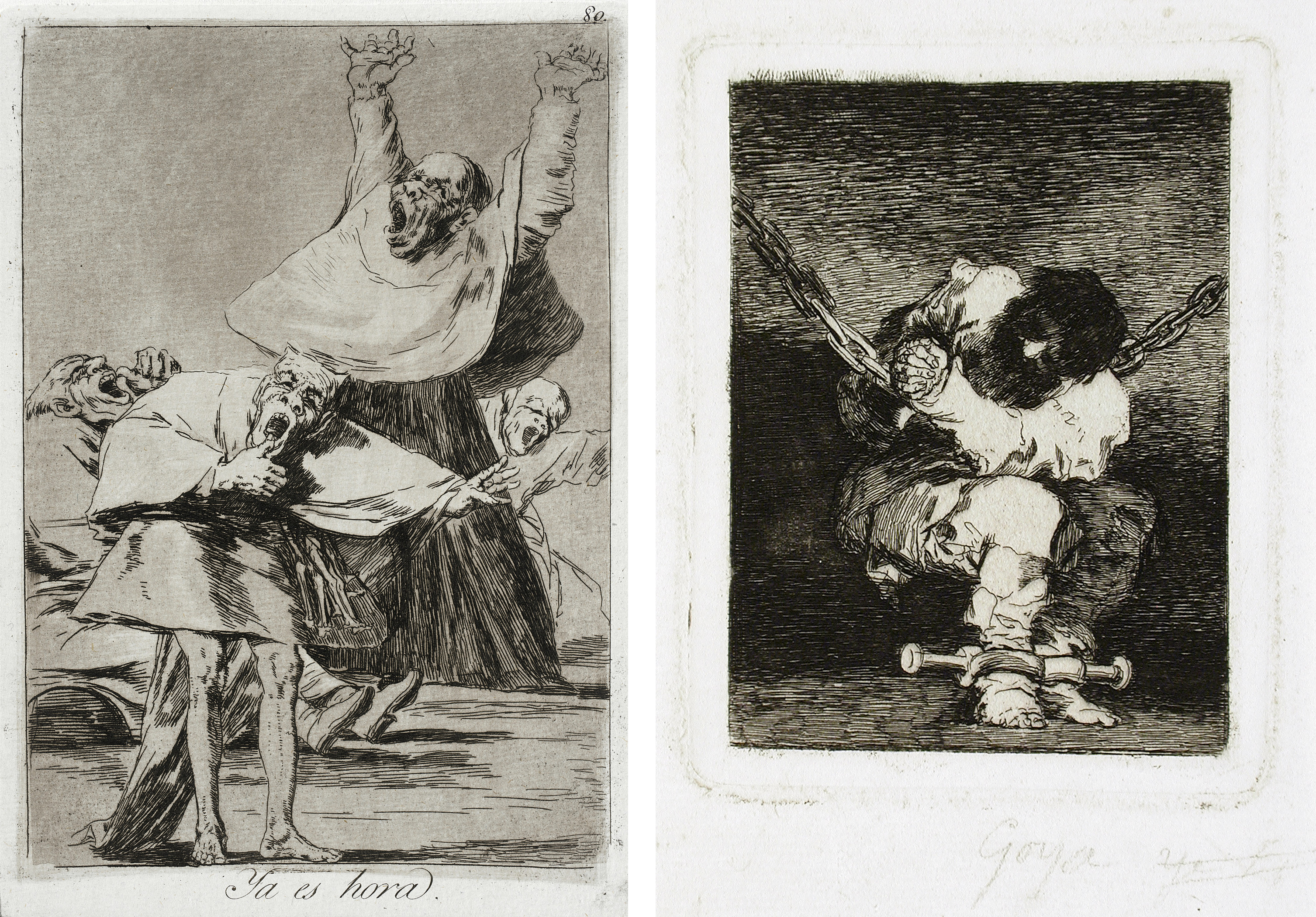 LEFT: Francisco Goya y Lucientes, It is Time, 1799, Los Angeles County Museum of Art, Paul Rodman Mabury Trust Fund,  photo © Museum Associates/LACMA; RIGHT: Francisco Goya y Lucientes, The Little Prisoner, c. 1810–14, Los Angeles County Museum of Art, Graphic Arts Council Fund in memory of Charles White, photo © Museum Associates/LACMA