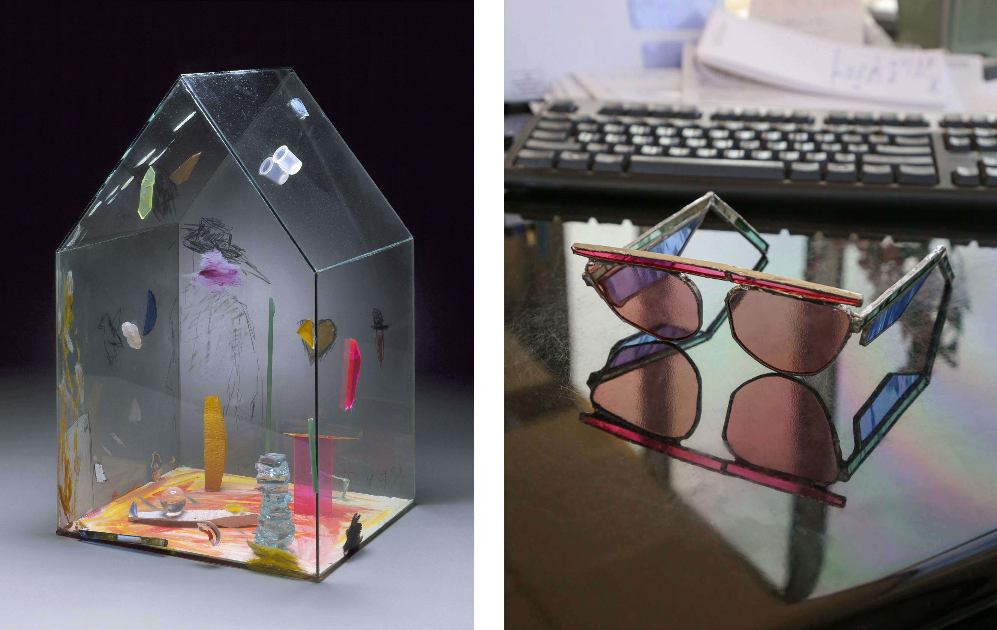 Left (LACMA selection): Therman Statom, Rey de Sol Mexico, 1988, Los Angeles County Museum of Art, gift of Daniel Greenberg and Susan Steinhauser, © Therman Statom, photo © Museum Associates/LACMA; Right (Artist work): Gillian Steiner, Rose Colored Glasses, 2019, photo courtesy of the artist