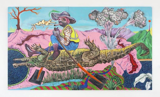 Simphiwe Ndzube, Bhekizwe, The Alligator Rider, 2020, Los Angeles County Museum of Art, purchased with funds provided by AHAN: Studio Forum, 2020 Art Here and Now purchase, © Simphiwe Ndzube, photo by Lee Tyler Thompson, courtesy Nicodim Gallery, Los Angeles