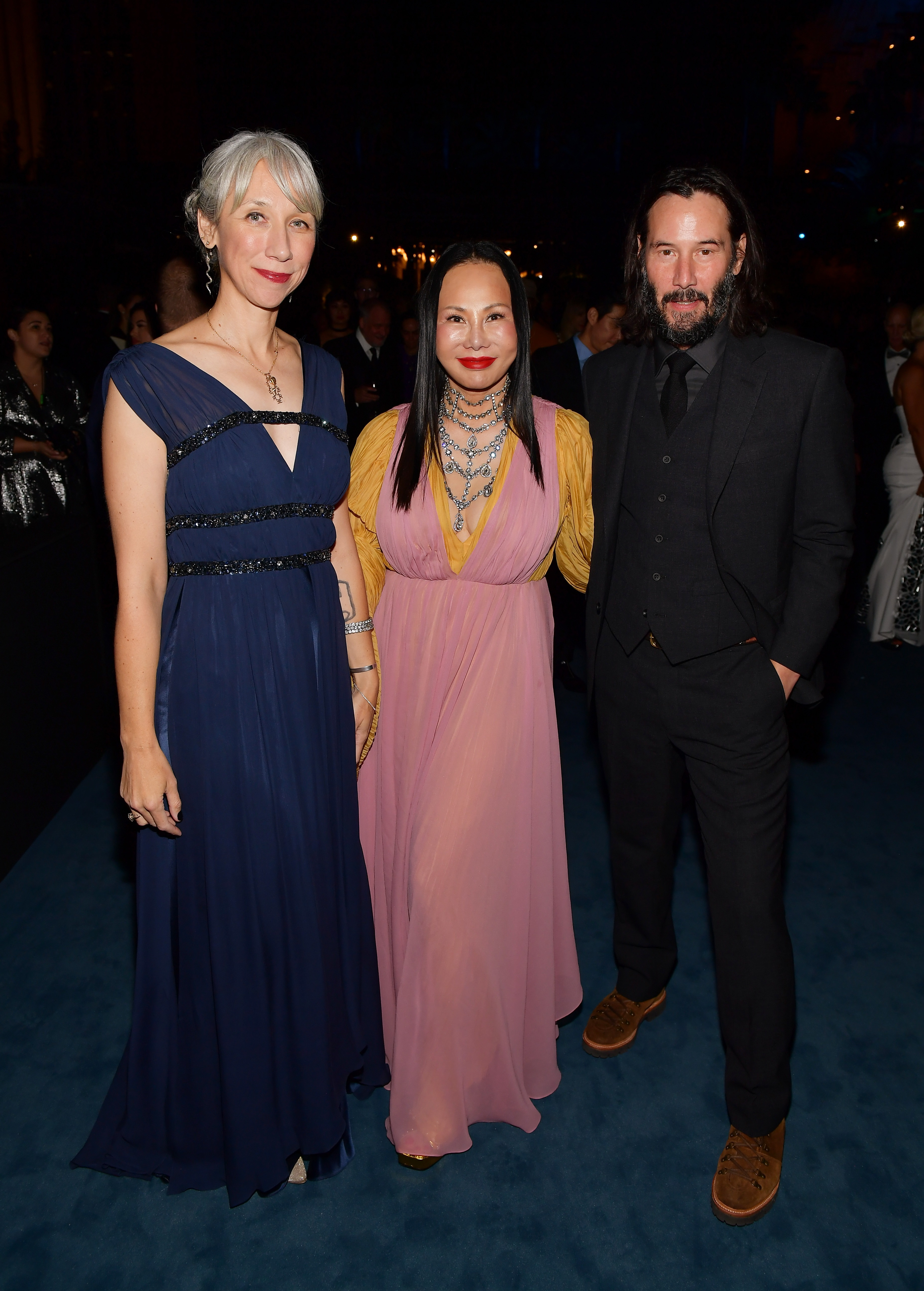 Artist Alexandra Grant, Gala Co-Chair and LACMA Trustee Eva Chow, and Keanu Reeves, photo by Matt Winkelmeyer/Getty Images for LACMA