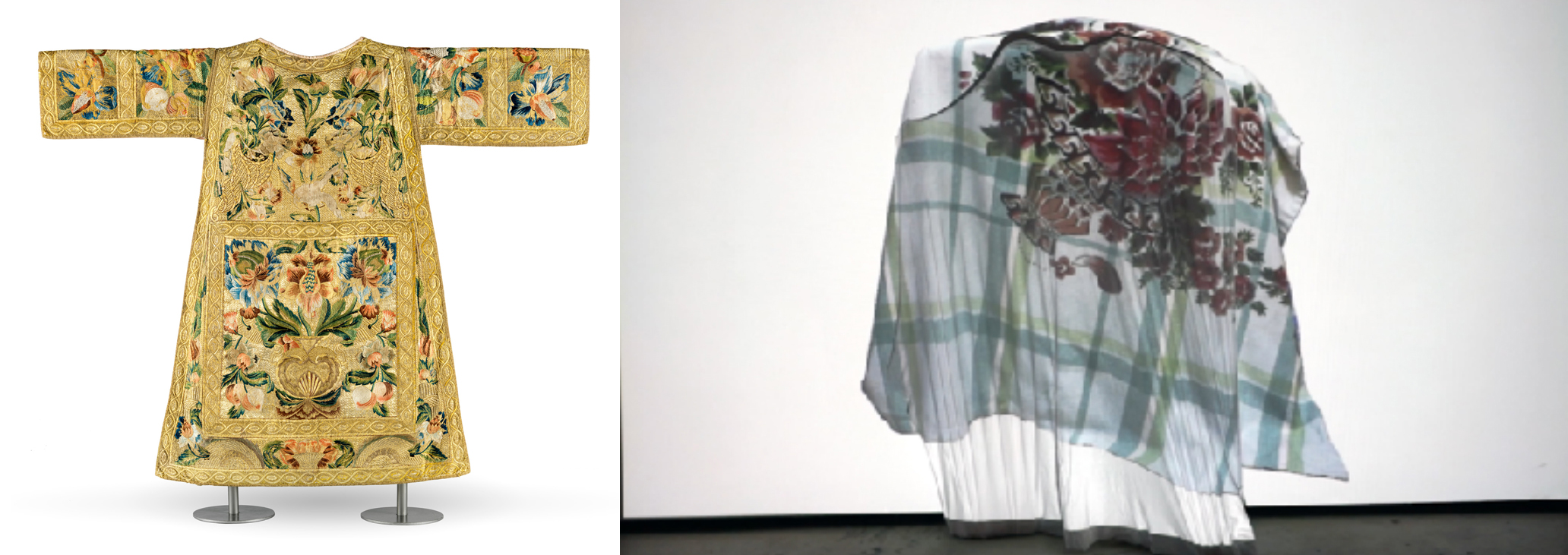 Left (LACMA selection): Set of Ecclesiastical Vestments (Dalmatic), Mexico, c. 1730, Los Angeles County Museum of Art, Costume Council Fund, photo © Museum Associates/LACMA; Right (Artist work): Ching Ching Cheng, (re)Build, 2018, single channel video, 6 minutes, photo courtesy of the artist