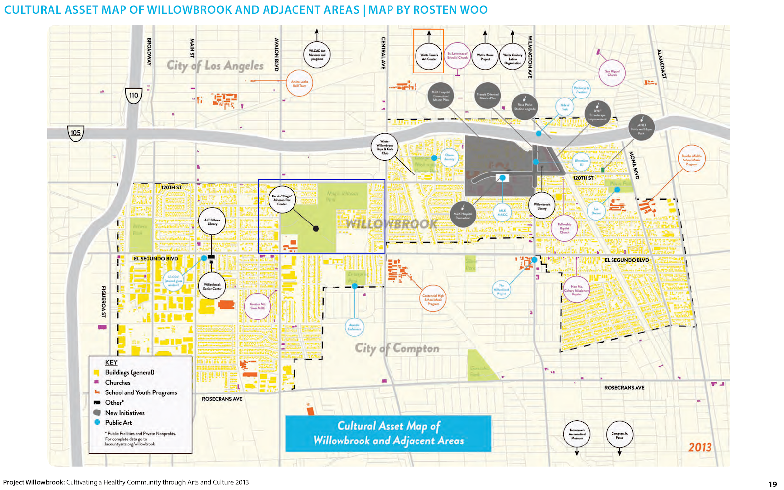 Cultural Asset Map of Willowbrook and Adjacent Areas, many of which Shorty biked by or spent time at. The dark blue rectangle represents Magic Johnson Park and the orange rectangle highlights Watts Towers. Project Willowbrook: Cultivating a Healthy Community through Arts and Culture is a project of the Los Angeles County Department of Arts and Culture and was developed in partnership with LA Commons and artist Rosten Woo. The project was supported in part by the National Endowment for the Arts and the Office of Los Angeles County Supervisor Mark Ridley-Thomas. https://www.lacountyarts.org/willowbrook/