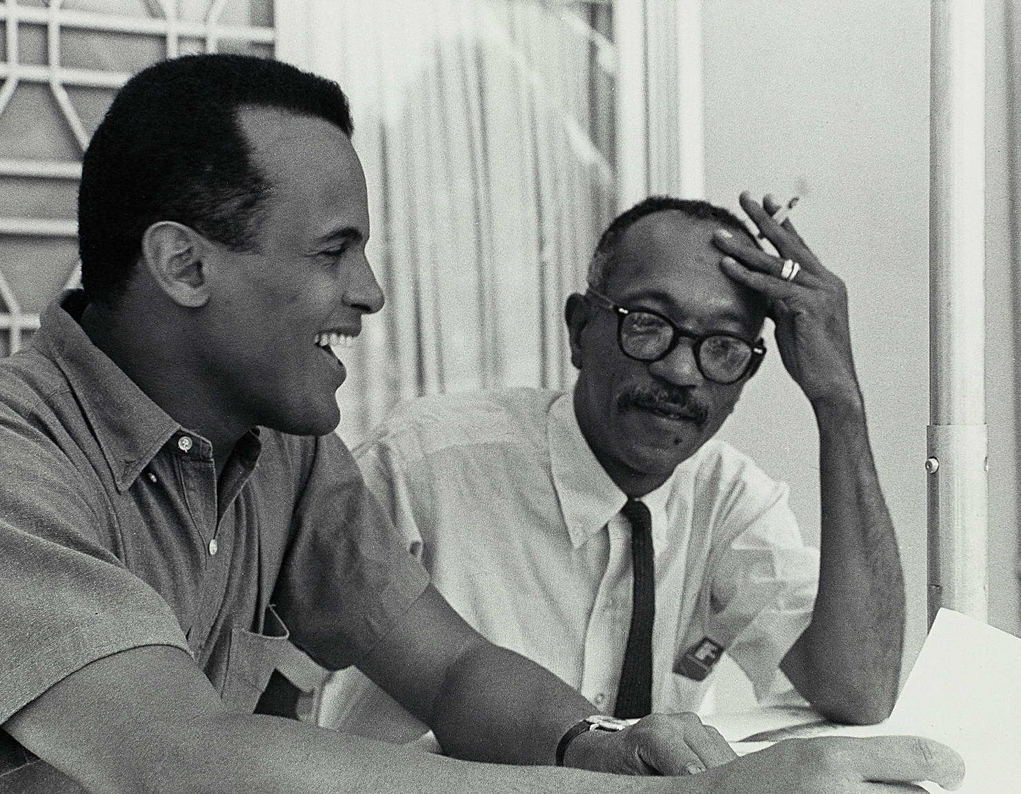 Charles White and Harry Belafonte working on Songs Belafonte Sings, 1962, The Charles White Archives, digital image by Natalja Kent
