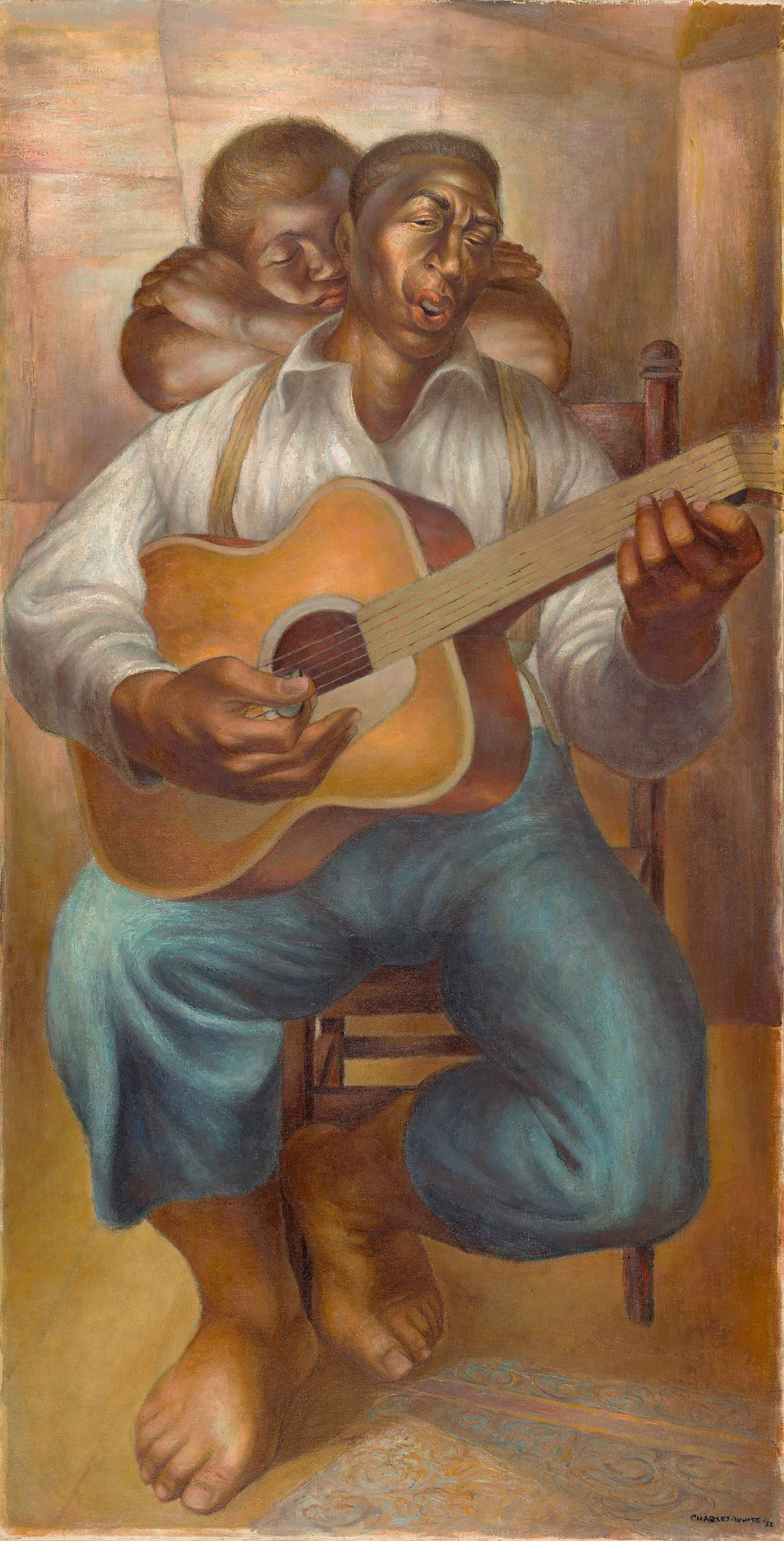 Charles White, Goodnight Irene, 1952, The Nelson-Atkins Museum of Art, Kansas City, Missouri, Purchase: acquired through a lead gift provided by Sarah and Landon Rowland through The Ever Glades Fund; major support provided by Lee Lyon, in memory of Joanne Lyon; Sprint; James and Elizabeth Tinsman; Neil D. Karbank, and The Sosland Family; Generous support provided by John and Joanne Bluford; The Stanley H. Durwood Foundation; Gregory M. Glore; Maurice Watson; Anne and Cliff Gall, Dr. Sere and Mrs. MaryJane Myers and Family; Gary and Debby Ballard; Dr. Loretta M. Britton; Catherine L. Futter, in memory of Mathew and Erna Futter; Jean and Moulton Green, Jr., in honor of Rose Bryant; Dr. Willie and Ms. Sandra A. J. Lawrence; Randall and Helen Ferguson; Dr. Valerie E. Chow and Judge Jon R. Gray (Ret.); Gwendolyn J. Cooke, Ph.D.; Dwayne and Freida Crompton; Leodis and N. June Davis; Kimberly C. Young; Tom and Karenbeth Zacharias; Jim Baggett and Marguerite Ermeling; Rose Bryant; Tasha and Julián Zugazagoitia; Antonia Boström and Dean Baker; Sarah Beeks Higdon; Kathleen and Kevin Collison; Katelyn Crawford and John Kupstas; Kimberly Hinkle and Jason Menefee; Stephanie and Brett Knappe; Jan and Michael Schall; and Michele Valentine, in memory of Marcella Hillerman, 2014.28, © The Charles White Archives