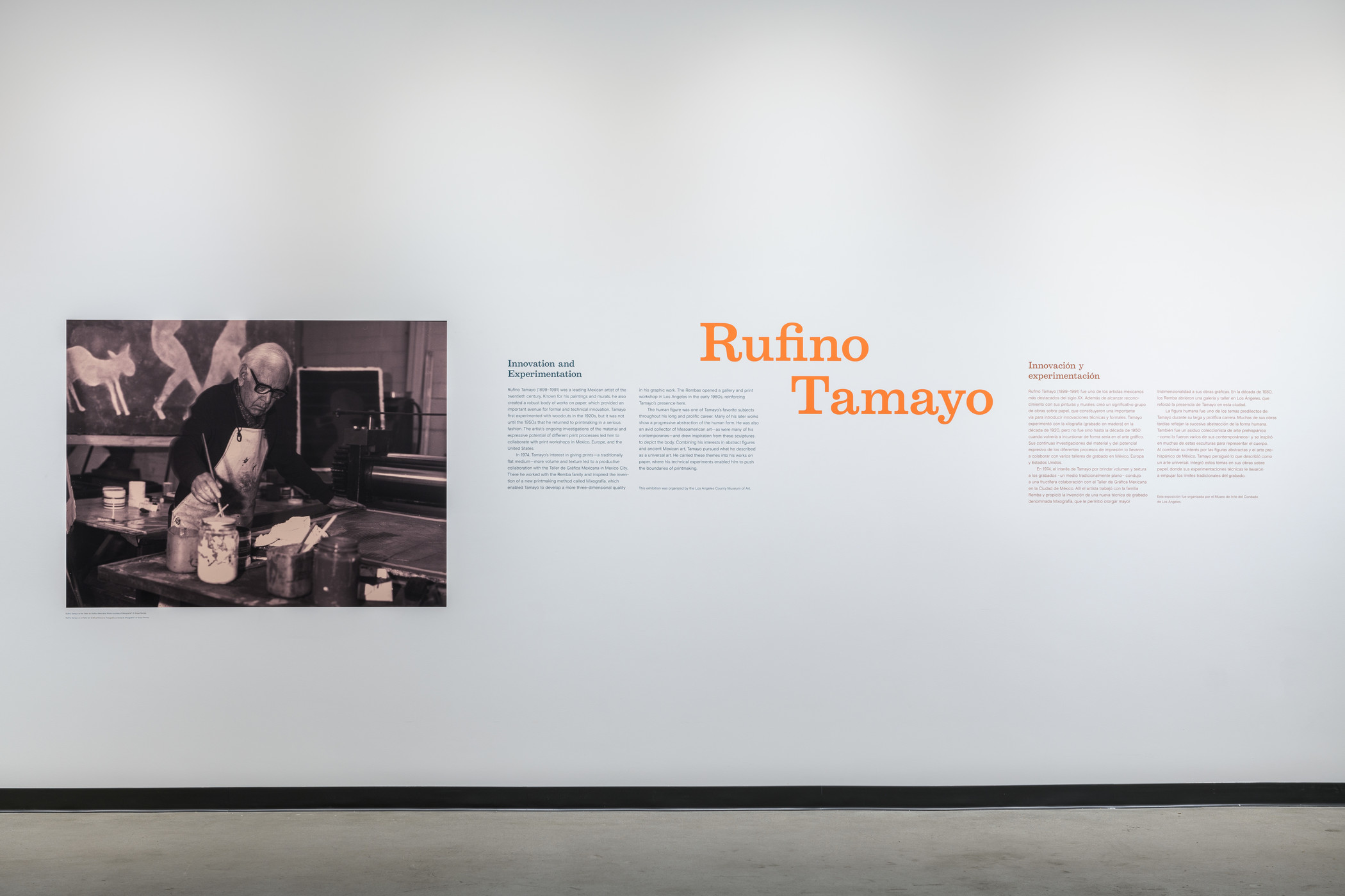 Installation photograph, Rufino Tamayo: Innovation and Experimentation, Los Angeles County Museum of Art at Charles White Elementary School Gallery, December 21, 2019–July 11, 2020, photo © 2020 Museum Associates/LACMA