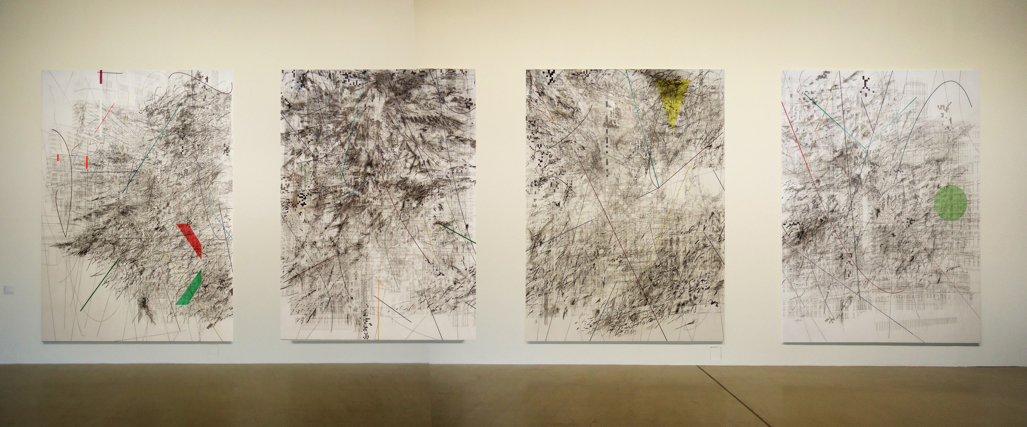 Julie Mehretu, Mogamma (A Painting in Four Parts), 2012, installation view in Documenta 13, Kassel, Germany, 2012, © Julie Mehretu, photograph by Ryszard Kasiewicz, courtesy of the artist, Marian Goodman Gallery, New York, and White Cube