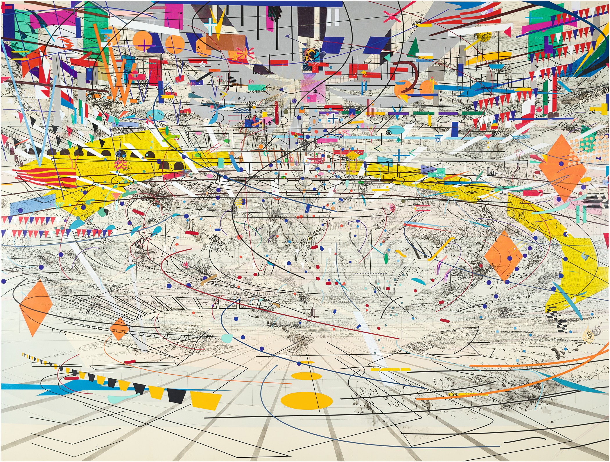 Julie Mehretu, Stadia II, 2004, Carnegie Museum of Art, Pittsburgh, gift of Jeanne Greenberg Rohatyn and Nicolas Rohatyn and A. W. Mellon Acquisition Endowment Fund 2004.50, © Julie Mehretu, photograph courtesy of the Carnegie Museum of Art