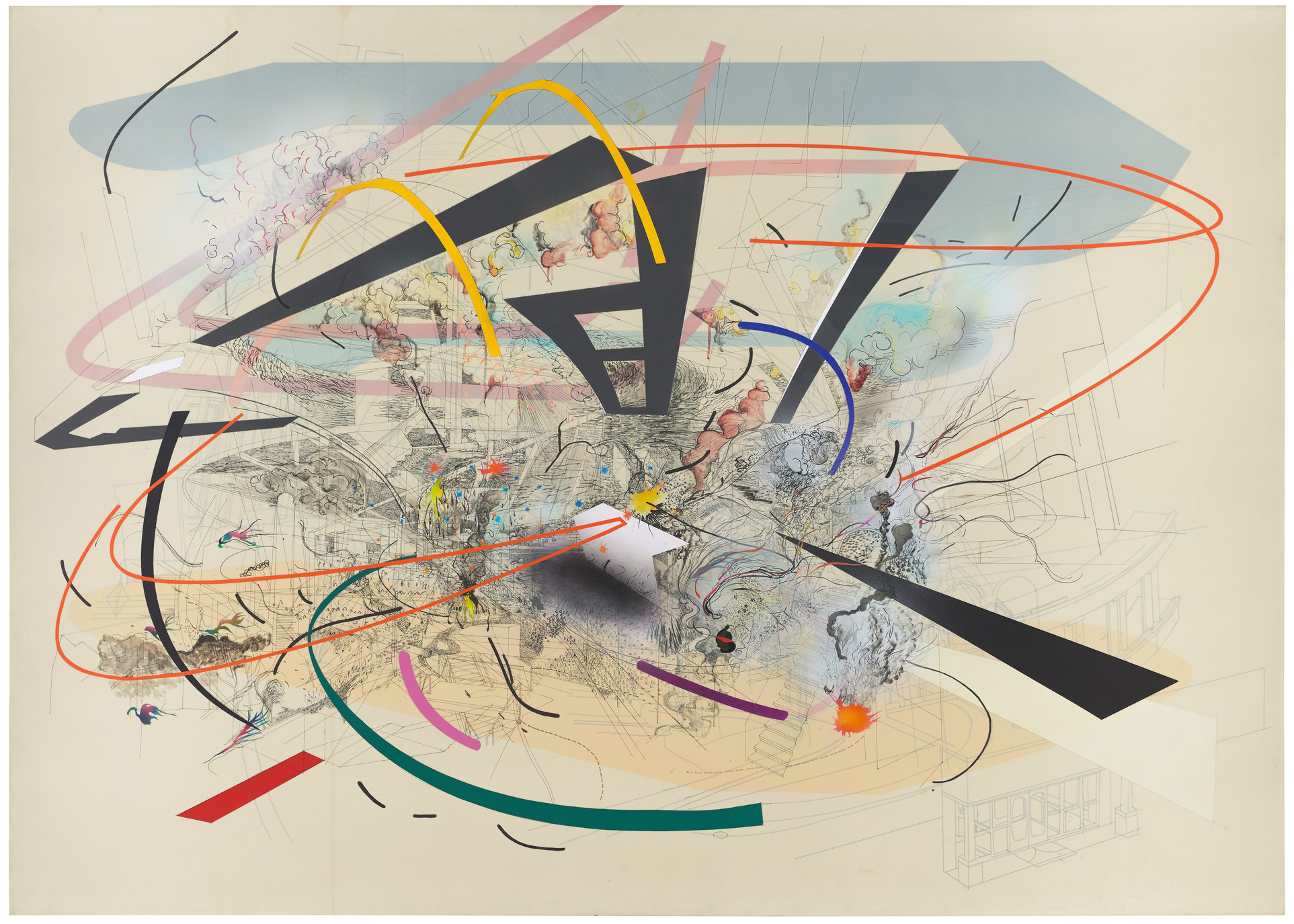 Julie Mehretu, Untitled 2, 2001, private collection, courtesy of Salon 94, New York, © Julie Mehretu, photograph by Tom Powel Imaging