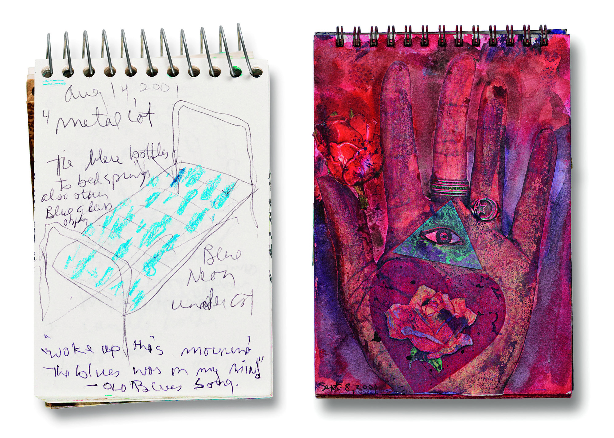 Left: Betye Saar, Page from 2000–2001 Sketchbook, August 14, 2001; Right: Betye Saar, Page from Aix-en-Provence/Los Angeles Sketchbook, September 8, 2004; both works Collection of Betye Saar, courtesy of the artist and Roberts Projects, Los Angeles, California, © Betye Saar, photo © Museum Associates/LACMA