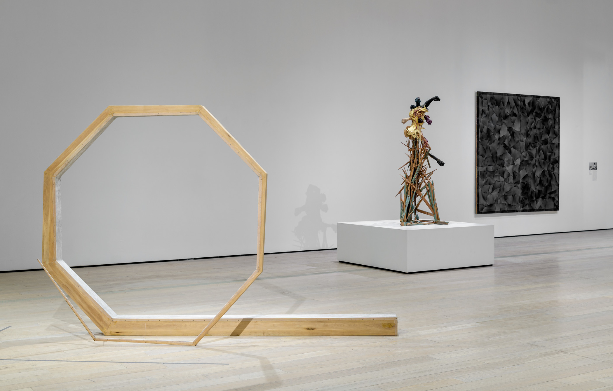 Installation photograph, The Allure of Matter: Material Art from China, at the Los Angeles County Museum of Art, June 2, 2019–January 5, 2020, photo © Museum Associates/LACMA. From left: Hu Xiaoyuan, Ant Bone IV, 2015, Collection of the artist, courtesy of Beijing Commune and the artist; Jin Shan, Mistaken, 2015, Collection of the artist, courtesy of the artist and BANK/MABSOCIETY; Ma Qiusha, Wonderland: Black Square, 2016, Collection of the artist, courtesy of Beijing Commune and the artist