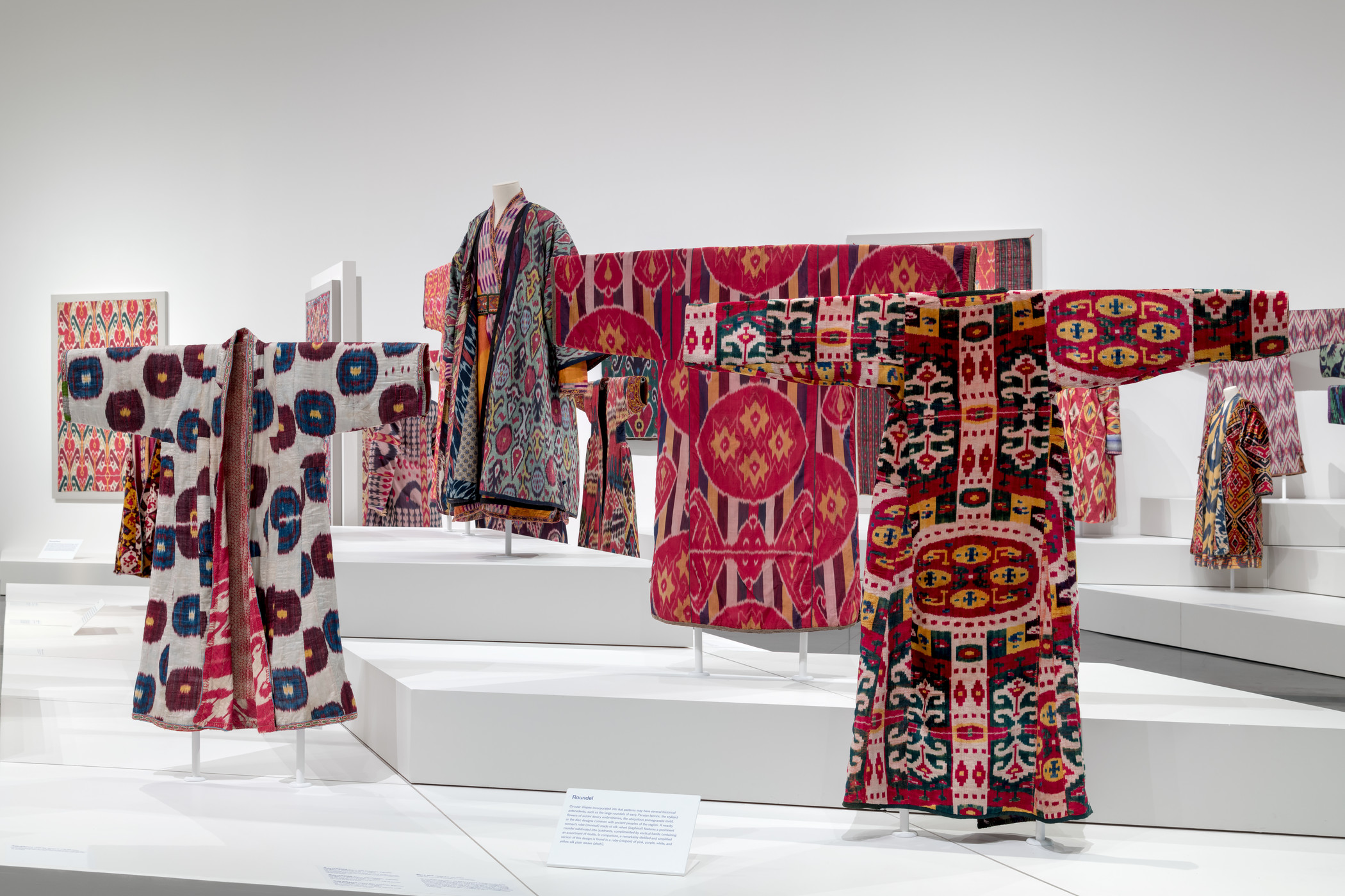Installation view, Power of Pattern: Central Asian Ikats from the David and Elizabeth Reisbord Collection at the Los Angeles County Museum of Art, February 3–August 11, 2019, photo © Museum Associates/LACMA