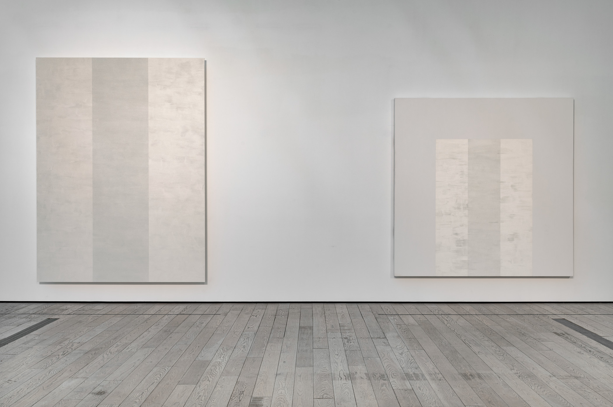 Installation photograph, Mary Corse: A Survey in Light, Los Angeles County Museum of Art, July 28–November 11, 2019, art © Mary Corse, photo © Museum Associates/LACMA. From left: Untitled (White Inner Band, Beveled), 2011, Collection of Kayne Griffin Corcoran; Untitled (White Arch Inner Band Series), 1996, Los Angeles County Museum of Art; Modern and Contemporary Art Council, New Talent Purchase award by exchange
