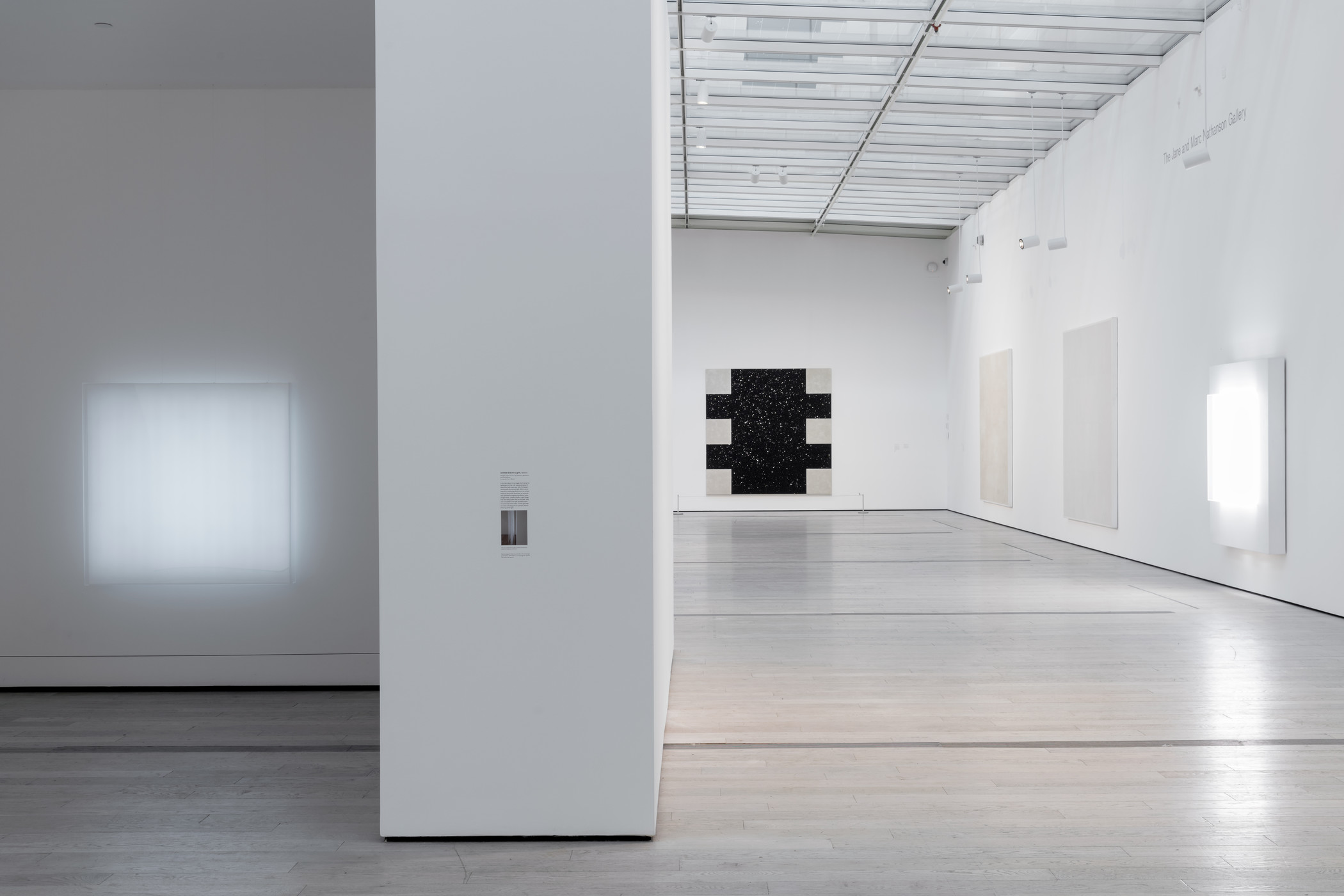 Installation photograph, Mary Corse: A Survey in Light, Los Angeles County Museum of Art, July 28–November 11, 2019, art © Mary Corse, photo © Museum Associates/LACMA