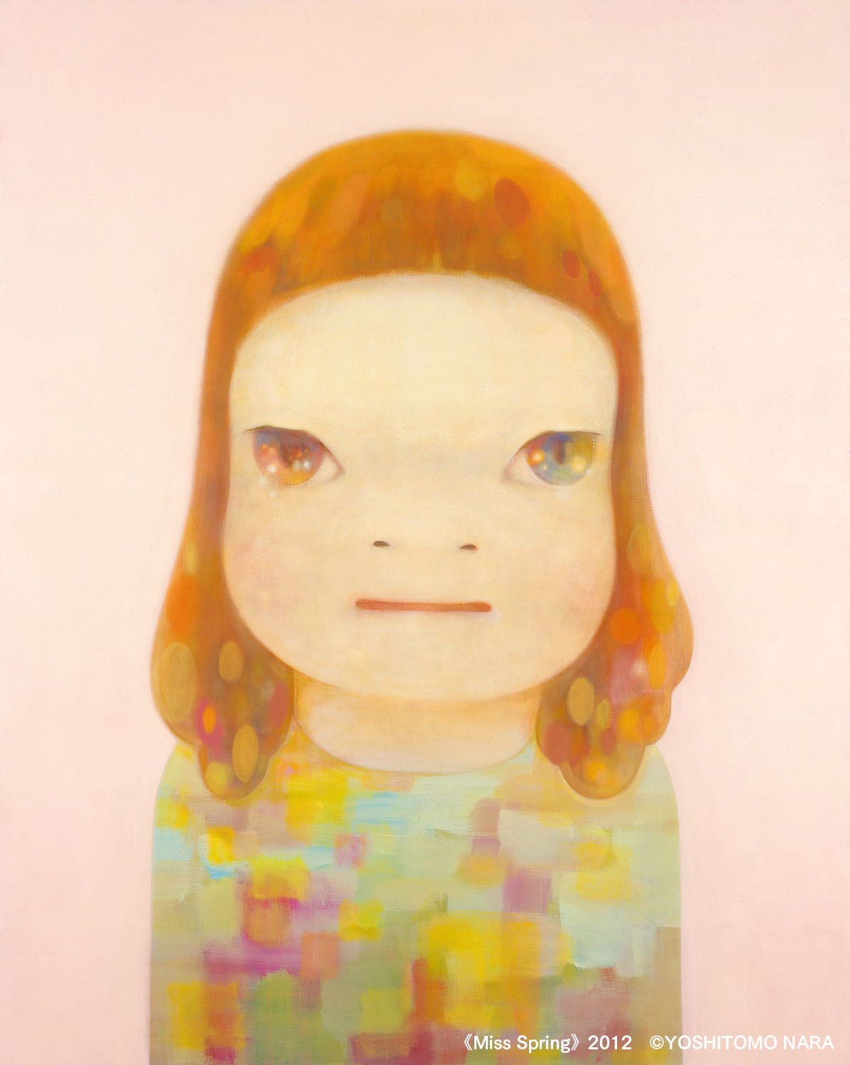 Painting by Yoshitomo Nara of a girl with colorful clothes and eyes in front of a pink background