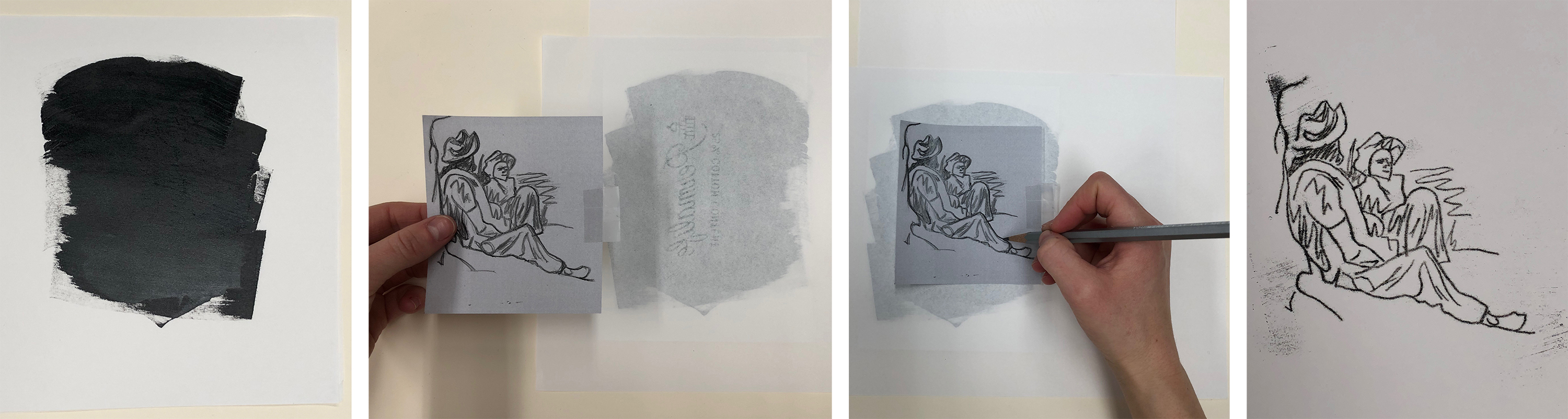 From left: Ink applied to paper matrix; Inked paper flipped onto clean paper; Image traced through ink; Result is not a mirror image of the original