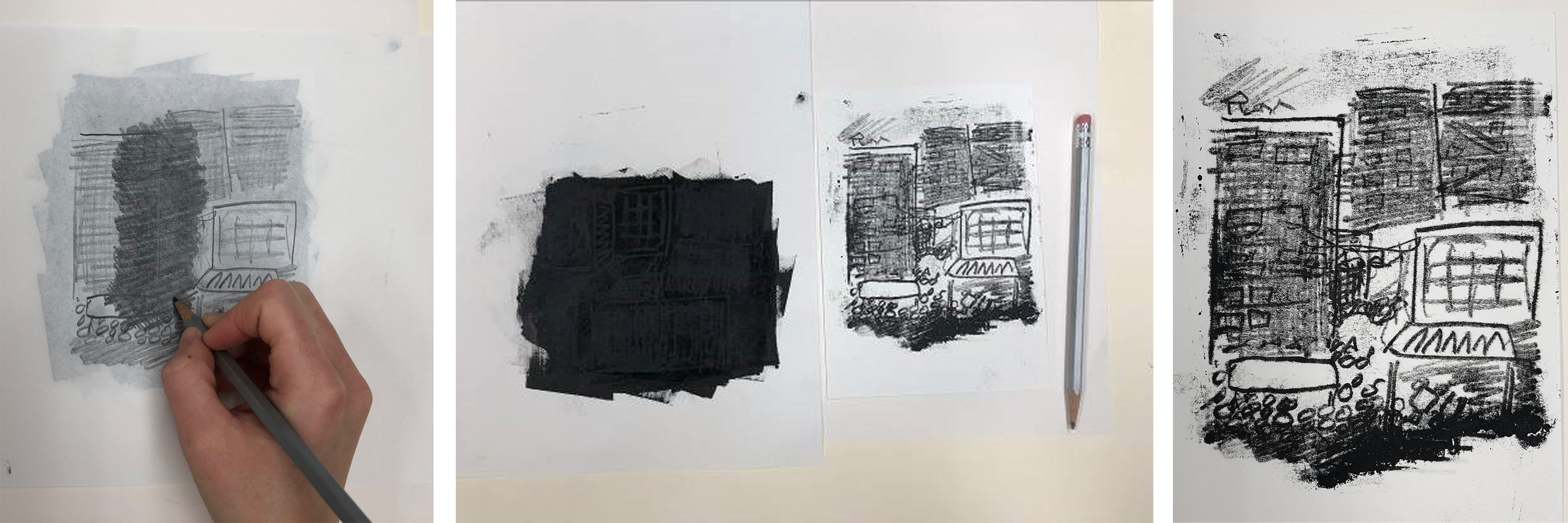 From left: Image drawn freehand over inked matrix; Ink (areas transferred are visible) and resulting image; Detail of line quality