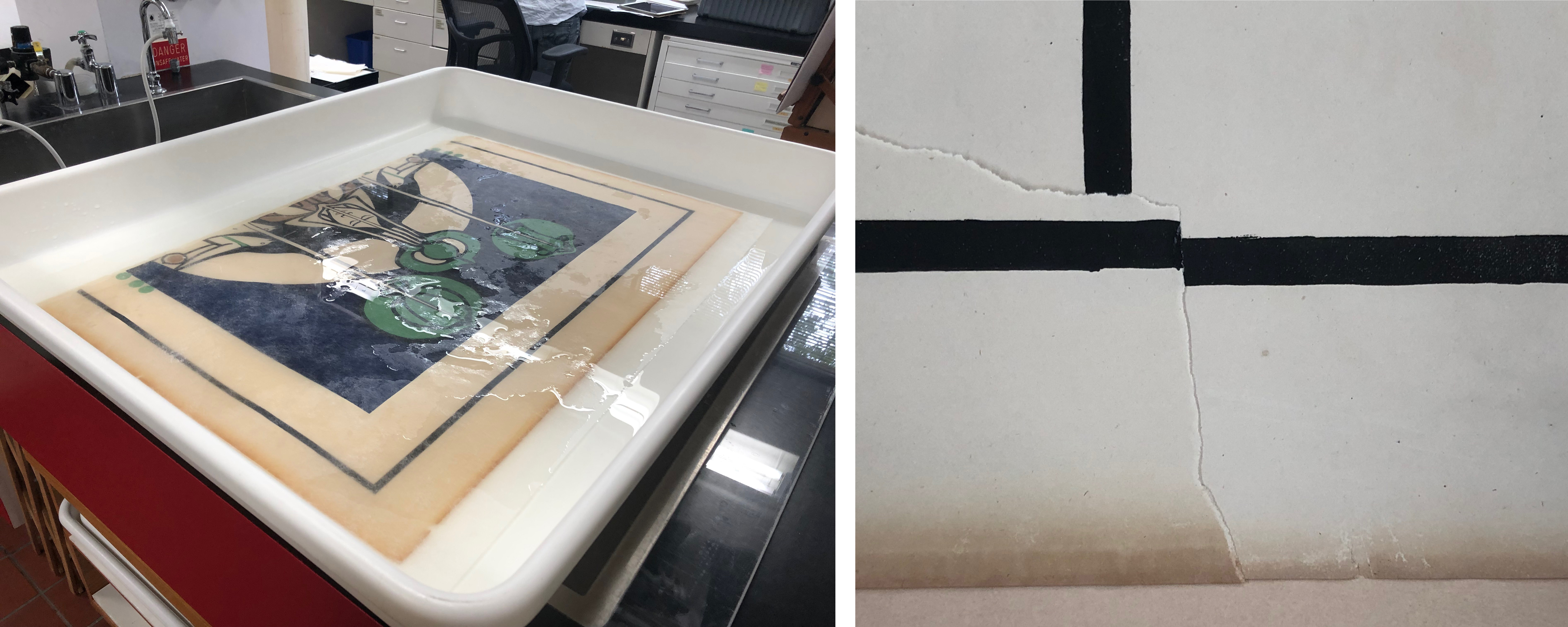 Left: Bathing a panel in filtered pH 7 water, image courtesy of Madison Brockman; Right: Before vs. after bathing process—the paper is brighter, image courtesy of Madison Brockman