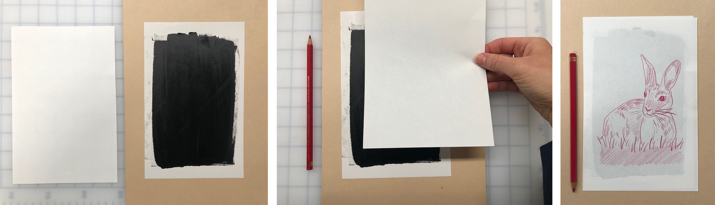 From left: Materials used include paper and inked paper matrix; Placing clean paper atop inked paper; Image drawn on back of clean paper
