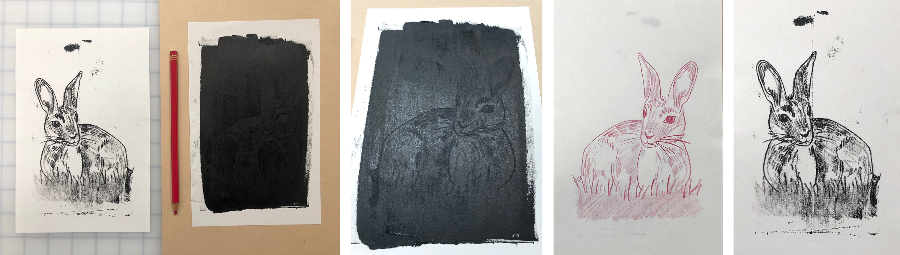 From left: Resulting image with ink on front of clean paper; Ink picked up from tracing; Back (drawing) side of the paper; Front (print) side of the paper