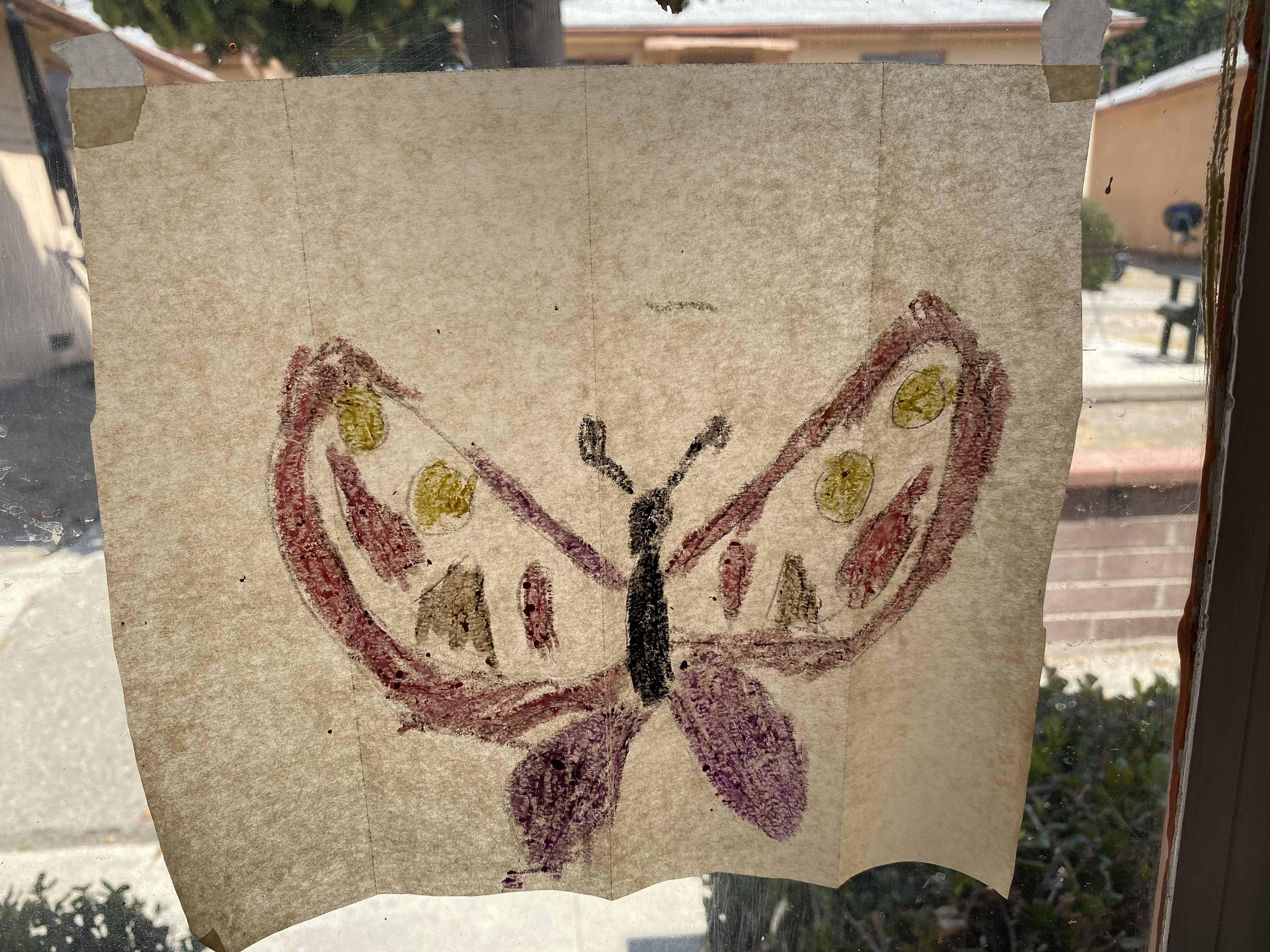 This butterfly was made for my birthday by my 5-year-old grandnephew Sigmund. He mailed it to me.
