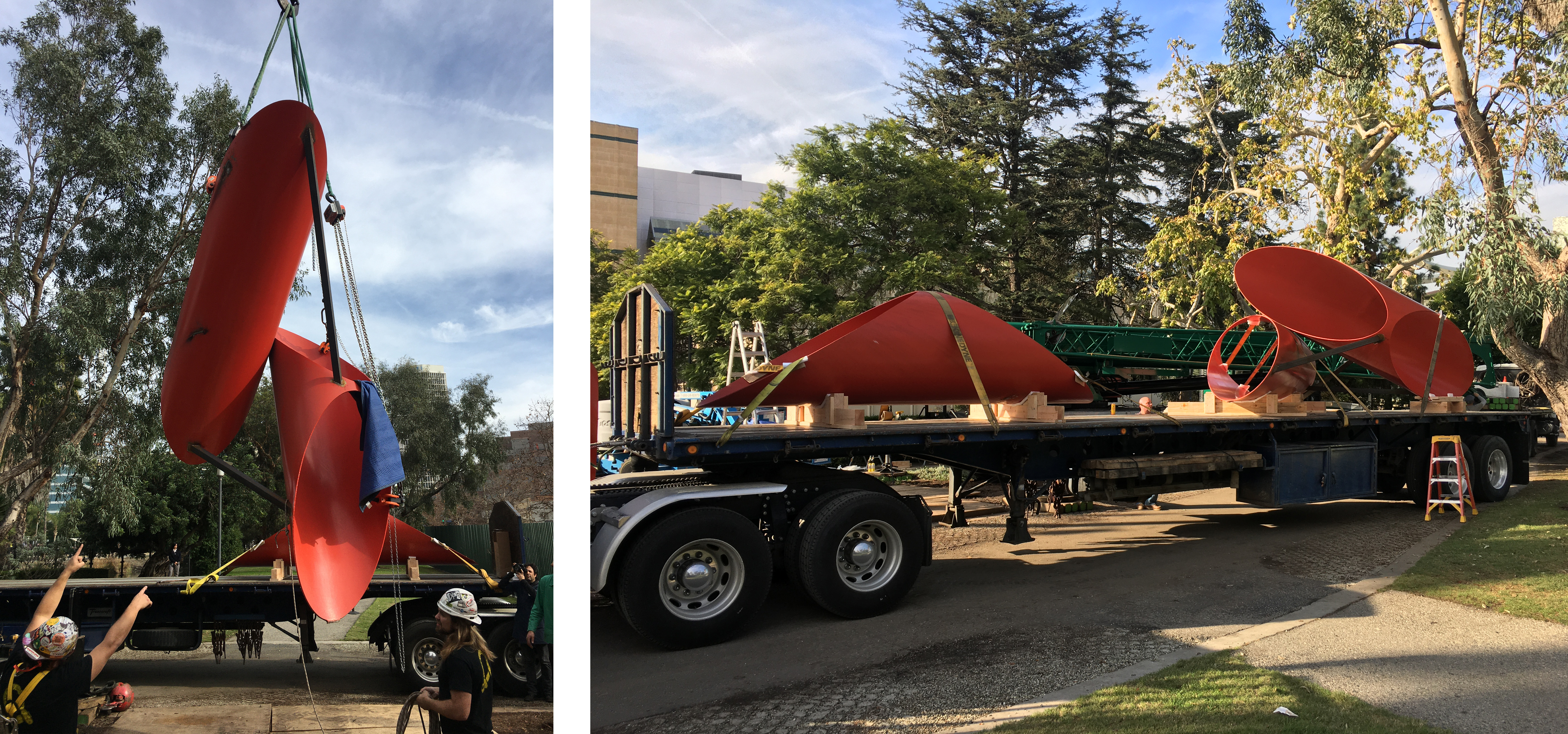 Both: Alexander Liberman, Phoenix, 1974, Los Angeles County Museum of Art, © The Alexander Liberman Trust, photos courtesy of Emory Marshall; Left: Luke and Peter discuss how to rotate the second freed piece to set onto the flatbed; Right: Two of three pieces secured to flatbed and ready for transport