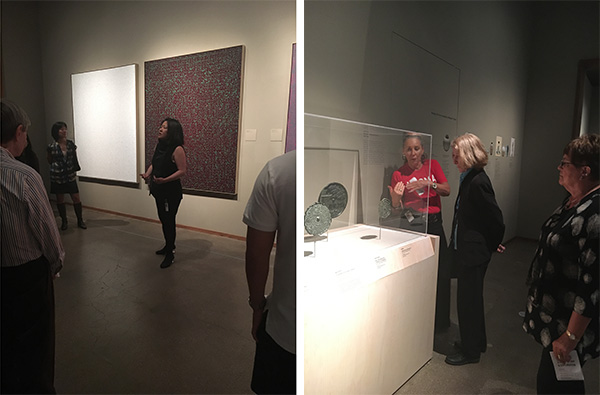 Left: Assistant curator of Korean art Virginia Moon leads a tour through the exhibition Unexpected Light: Works by Young-Il Ahn; right: a gallery educator engages with visitors to the Korean galleries.
