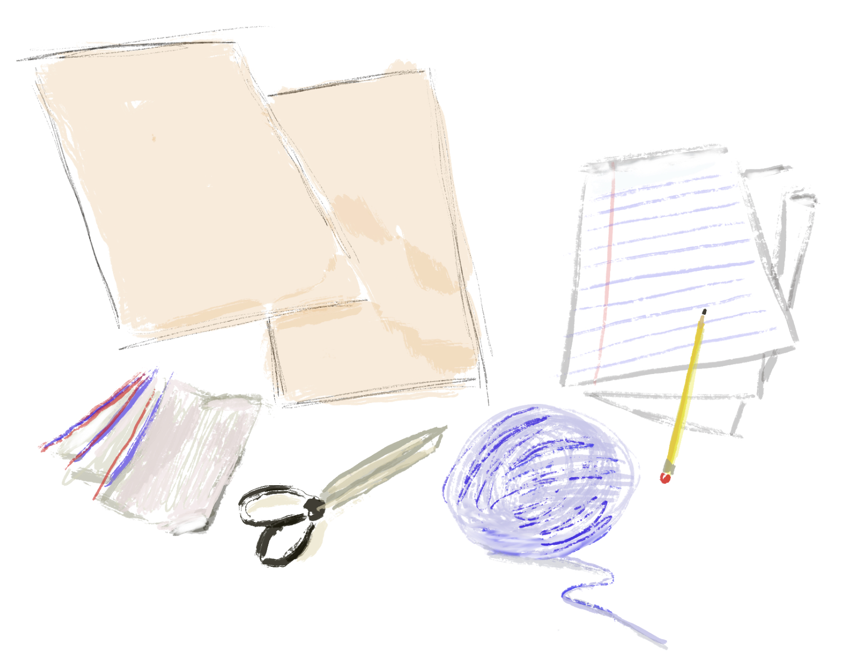 drawing of the supplies