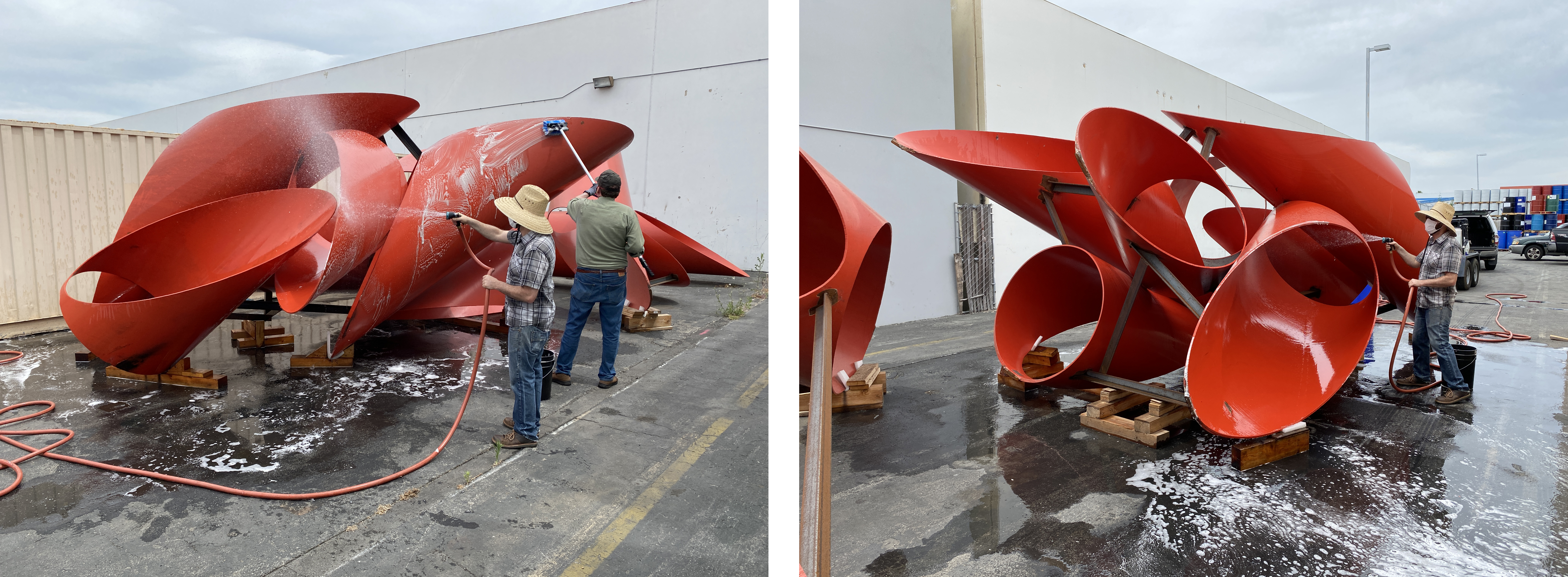 Both: Alexander Liberman, Phoenix, 1974, Los Angeles County Museum of Art, © The Alexander Liberman Trust. John Hirx and Larry Rubin, Sr. Collections Management Technician, scrubbing and rinsing Phoenix to prepare for shrink wrapping, photos courtesy of Emory Marshall