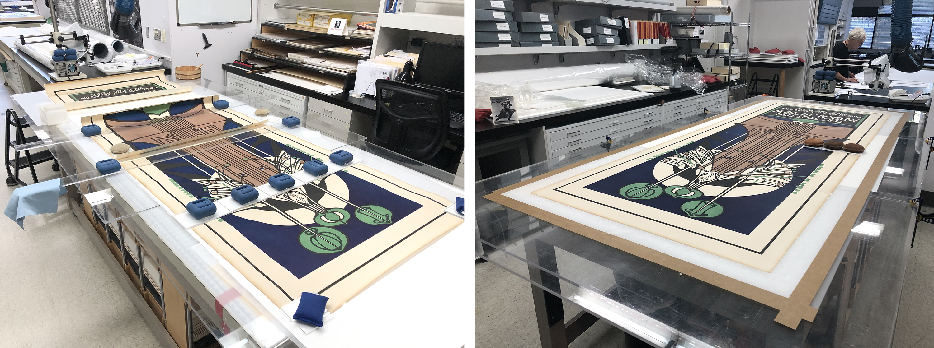 Left: Aligning and reattaching the panels, image courtesy of Madison Brockman; Right: Drying the lined object under tension, image courtesy of Madison Brockman