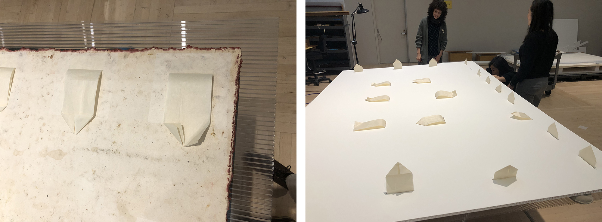 Left: Japanese paper hinges attached with wheat starch paste to the back of the print, photo courtesy of Madison Brockman; Right: Hinges passes through slots in a rigid honeycomb paper board for display, photo courtesy of Madison Brockman