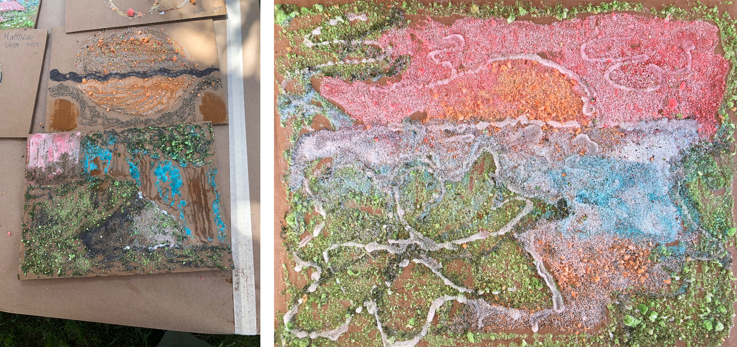 Artwork from teaching artist Hadley Holliday's workshop Unusual Landscapes during September Andell Family Sundays.