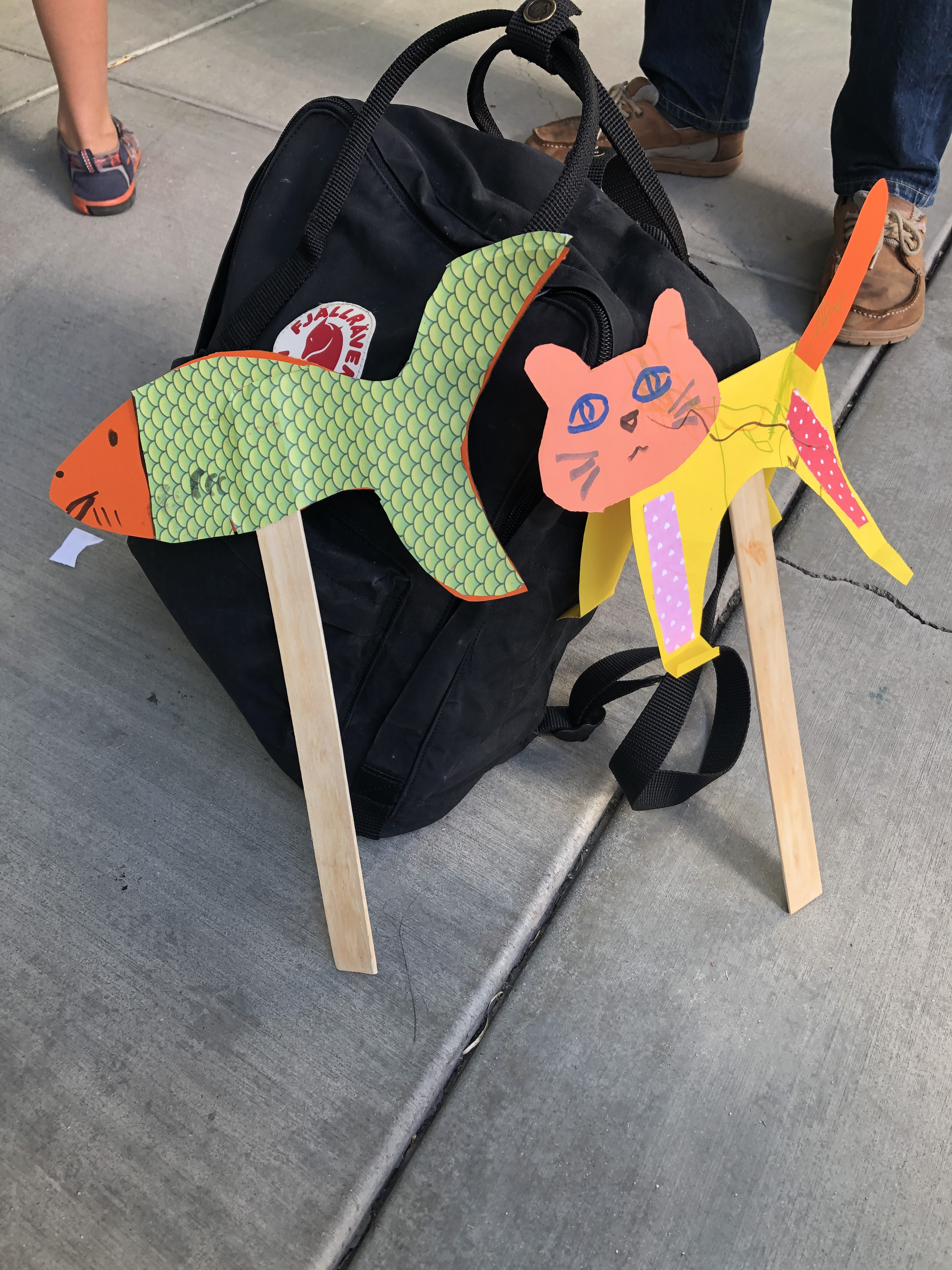 Animal puppets created in the Andell Family Sundays toddler workshop with artist Eszter Delgado