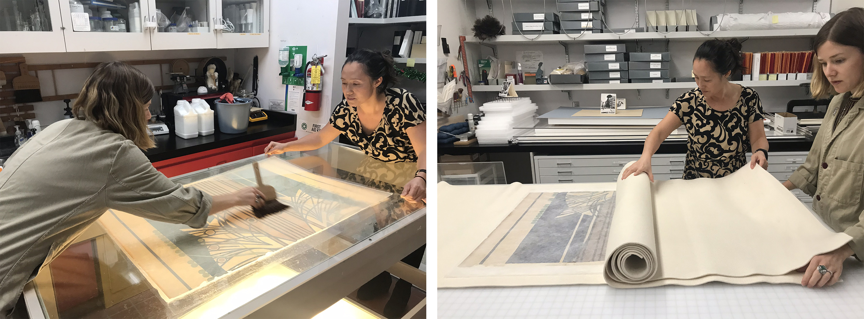 Left: Attaching a paper lining to the back of a poster panel, image courtesy of Janice Schopfer; Right: Drying the lined panel between thick wool sheets, image courtesy of Janice Schopfer