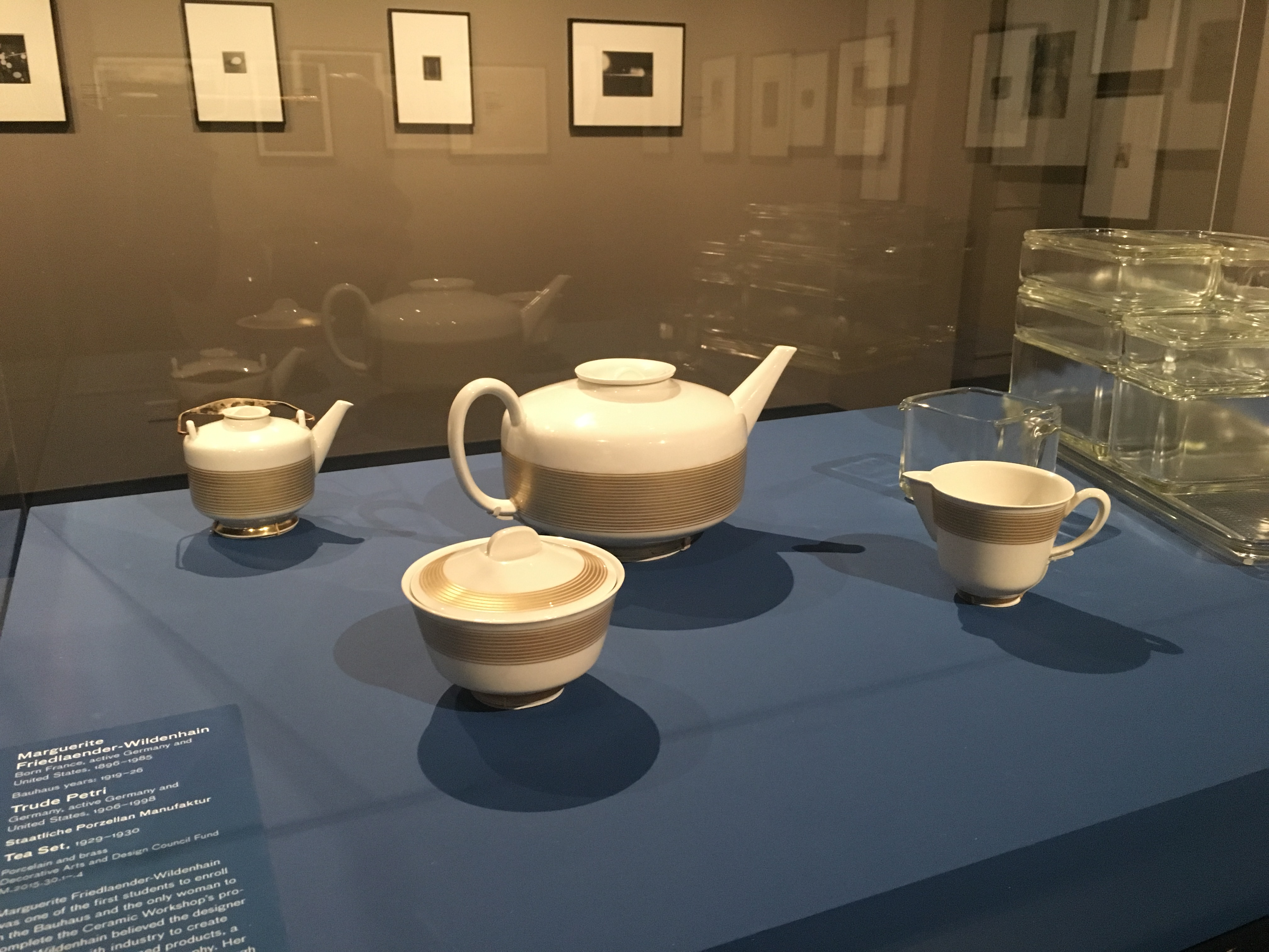 Marguerite Wildenhain, form designer and Trude Petri, decoration designer, Tea set, 1929–30, installation view, The Bauhaus at 100: Modern Legacies, Los Angeles County Museum of Art, February 16–June 2, 2019, Decorative Arts and Design Council Fund