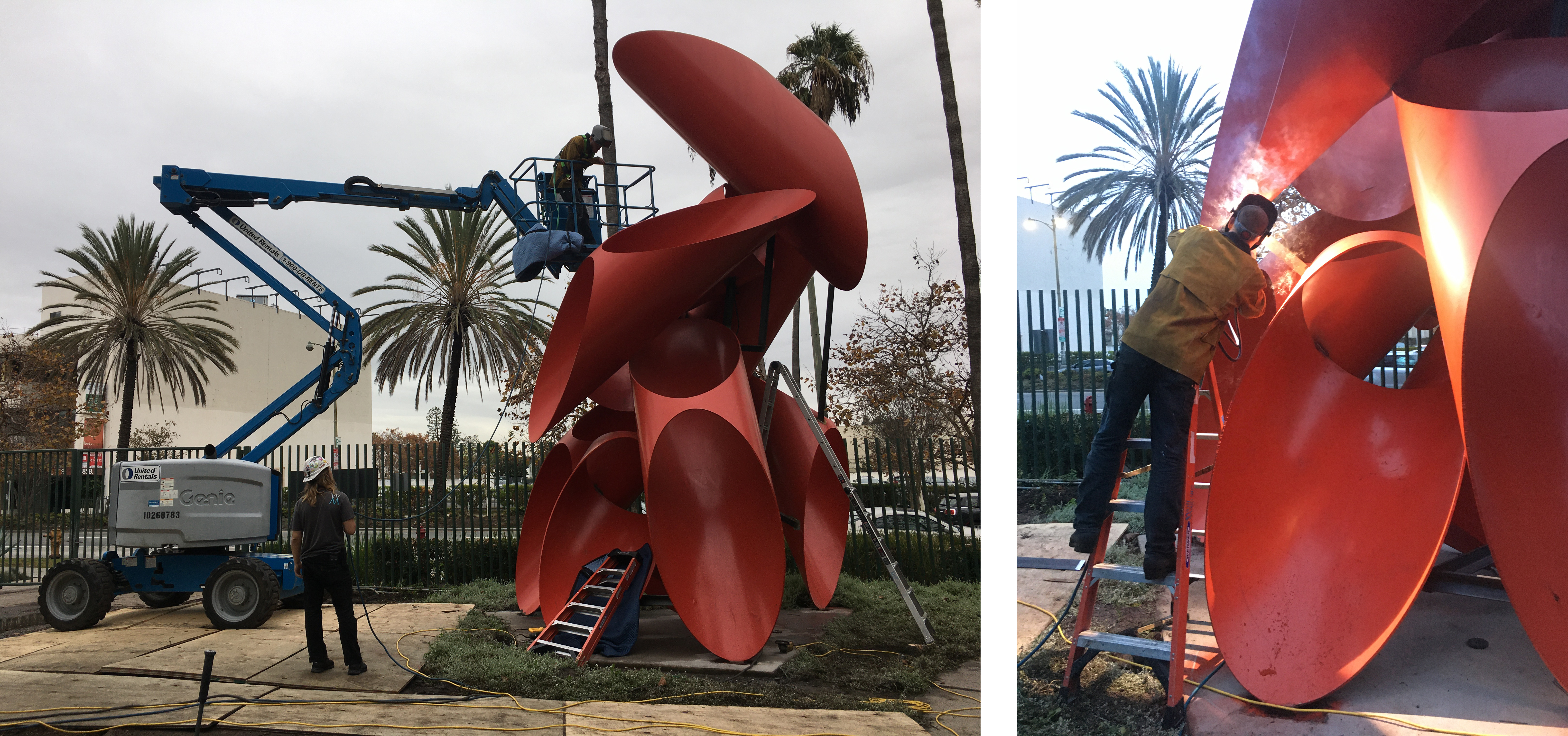 Both: Alexander Liberman, Phoenix, 1974, Los Angeles County Museum of Art, © The Alexander Liberman Trust, photos courtesy of Emory Marshall; Left: In the boom lift, Tyler Warren of Wolf Magritte assesses a weld to be reinforced; Right: Tyler welding an additional structural support