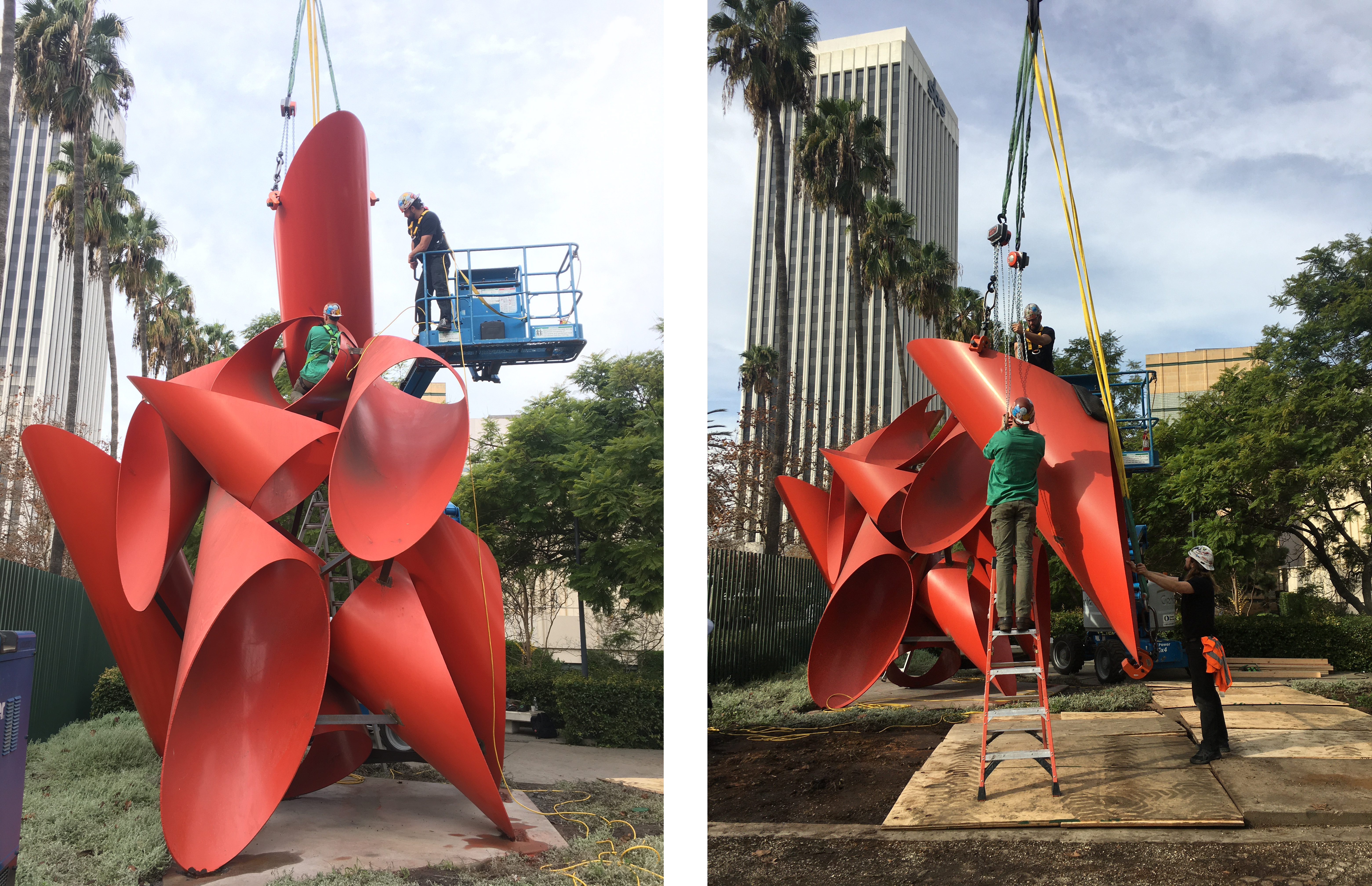 Both: Alexander Liberman, Phoenix, 1974, Los Angeles County Museum of Art, © The Alexander Liberman Trust, photos courtesy of Emory Marshall; Left: Luke Boehnke of Wolf Magritte observes from the boom lift as Tyler makes the final cut to free the top piece; Right: Tyler and Luke rotate the freed top piece with chain hoists while Peter Rybchenkov of Wolf Magritte stabilizes the piece so it can be laid flat onto the transport flatbed