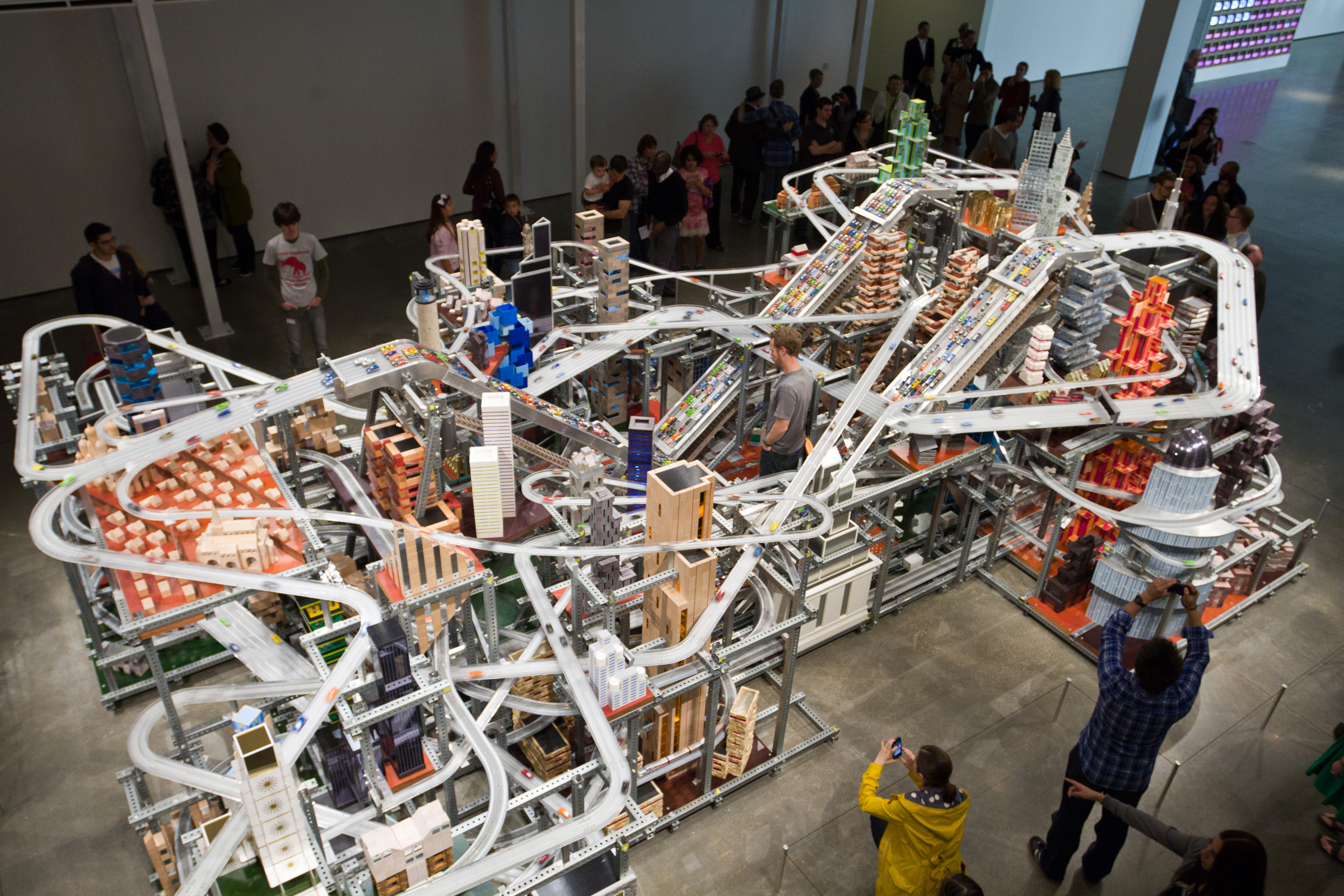 Chris Burden, Metropolis II (detail), 2010, courtesy of the Nicolas Berggruen Charitable Foundation, © Chris Burden/licensed by The Chris Burden Estate and Artists Rights Society (ARS), New York, photo © Museum Associates/LACMA Conservation, by Yosi Pozeilov