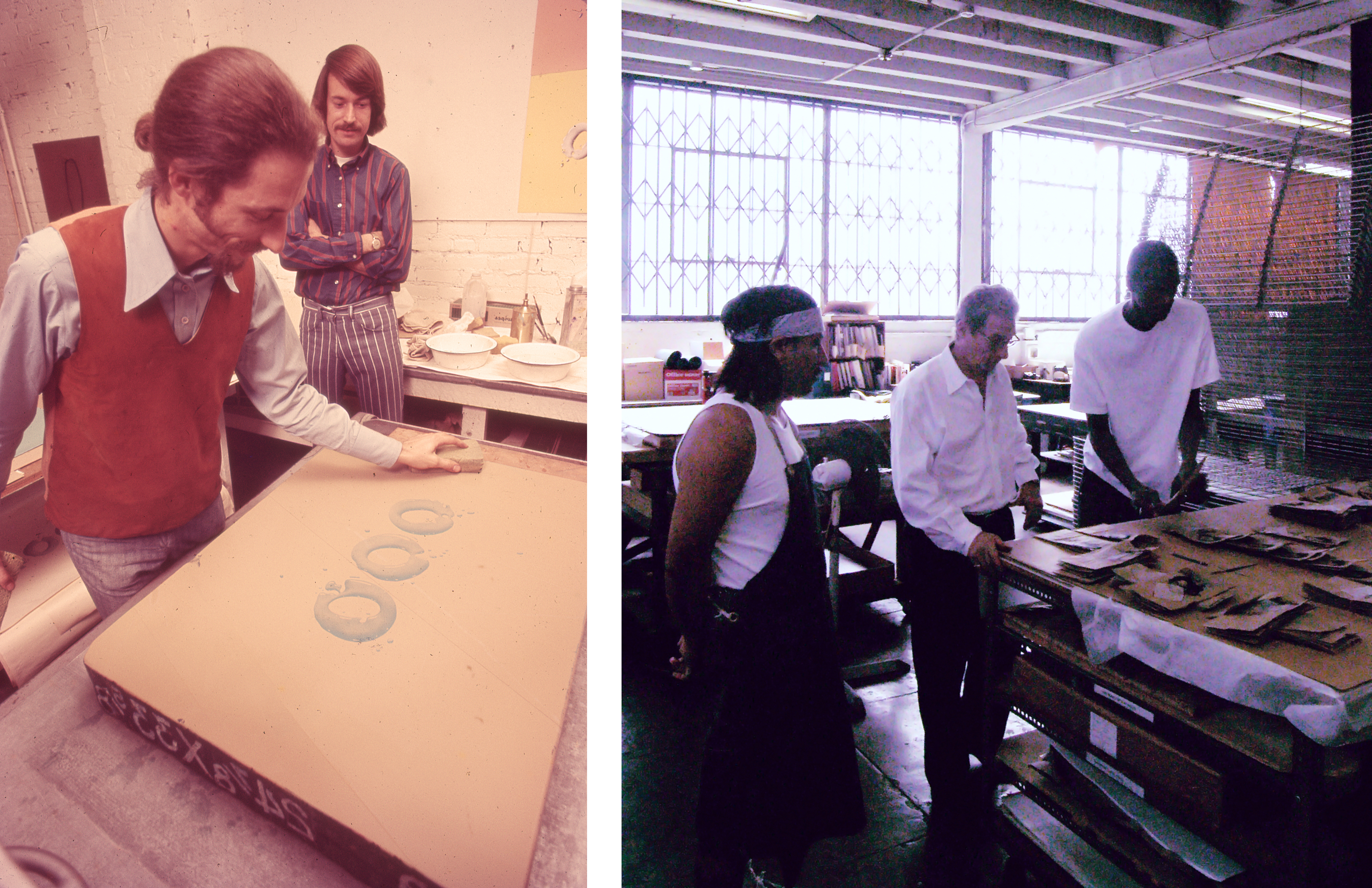 Left: Jean Milant (left) and Ed Hamilton (right) printing Ed Ruscha's OOO (1970), photo courtesy of Jean Milant; Right: Jean Milant (center) with artist Mark Bradford (right) at Cirrus Editions