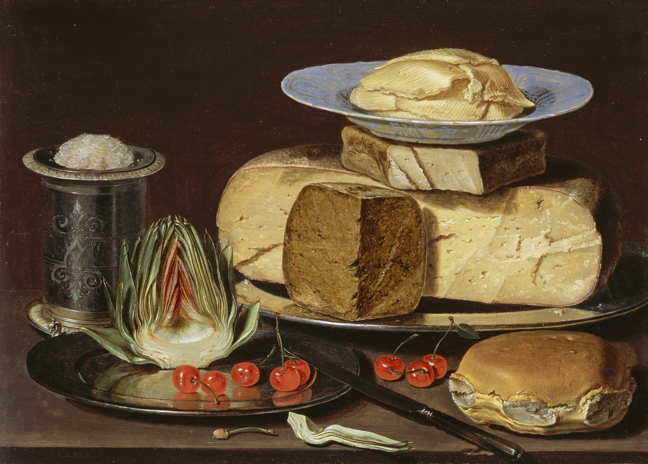 Clara Peeters, Still Life with Cheeses, Artichoke, and Cherries, c. 1625, Los Angeles County Museum of Art, gift of Mr. and Mrs. Edward W. Carter, photo © Museum Associates/LACMA